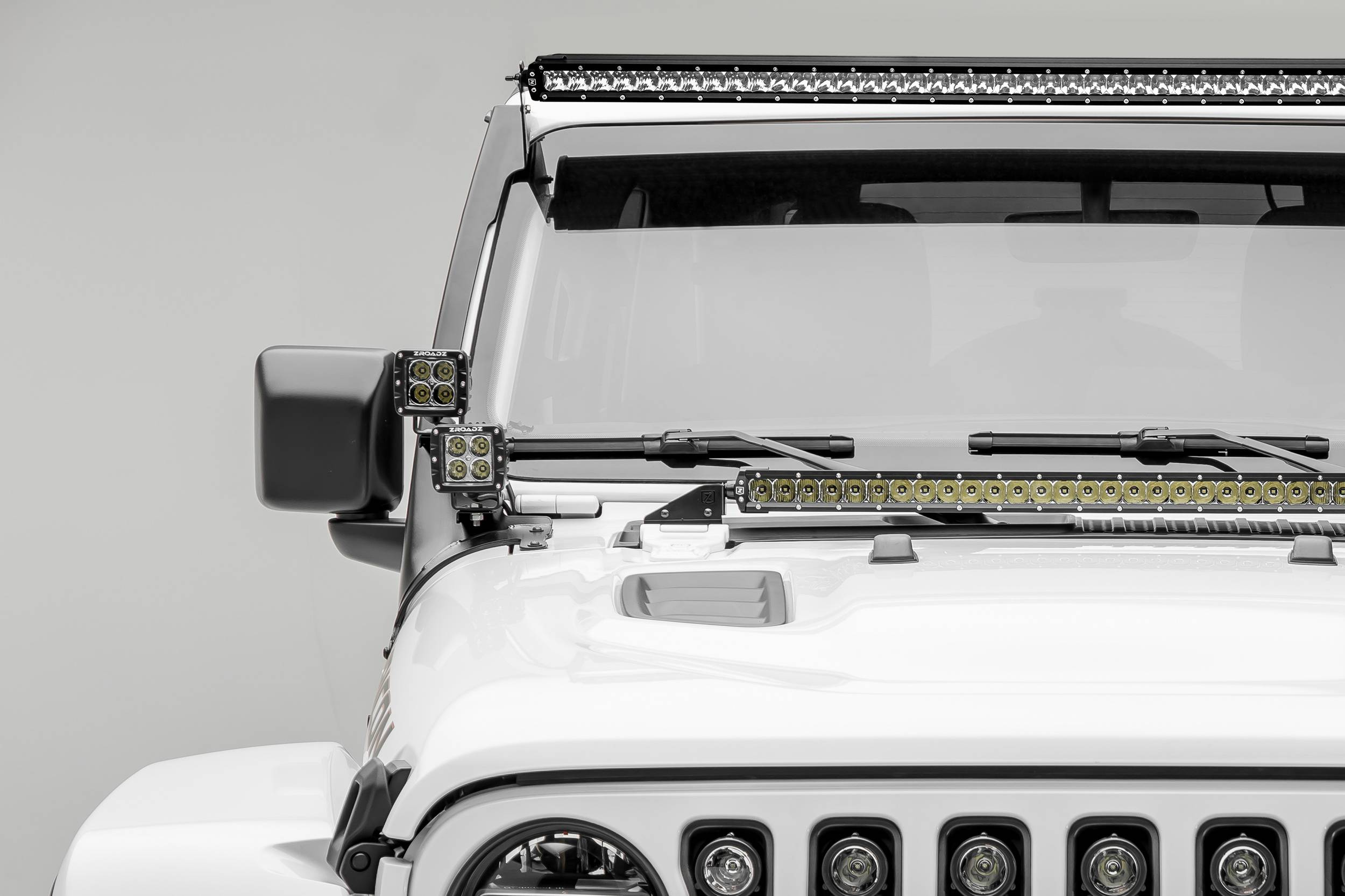 2018-2019 Jeep JL Front Roof LED Kit, Incl. (1) 50 Inch LED Straight Single Row Slim Light Bar and (4) 3 Inch LED Pod Lights - PN #Z374631-KIT4