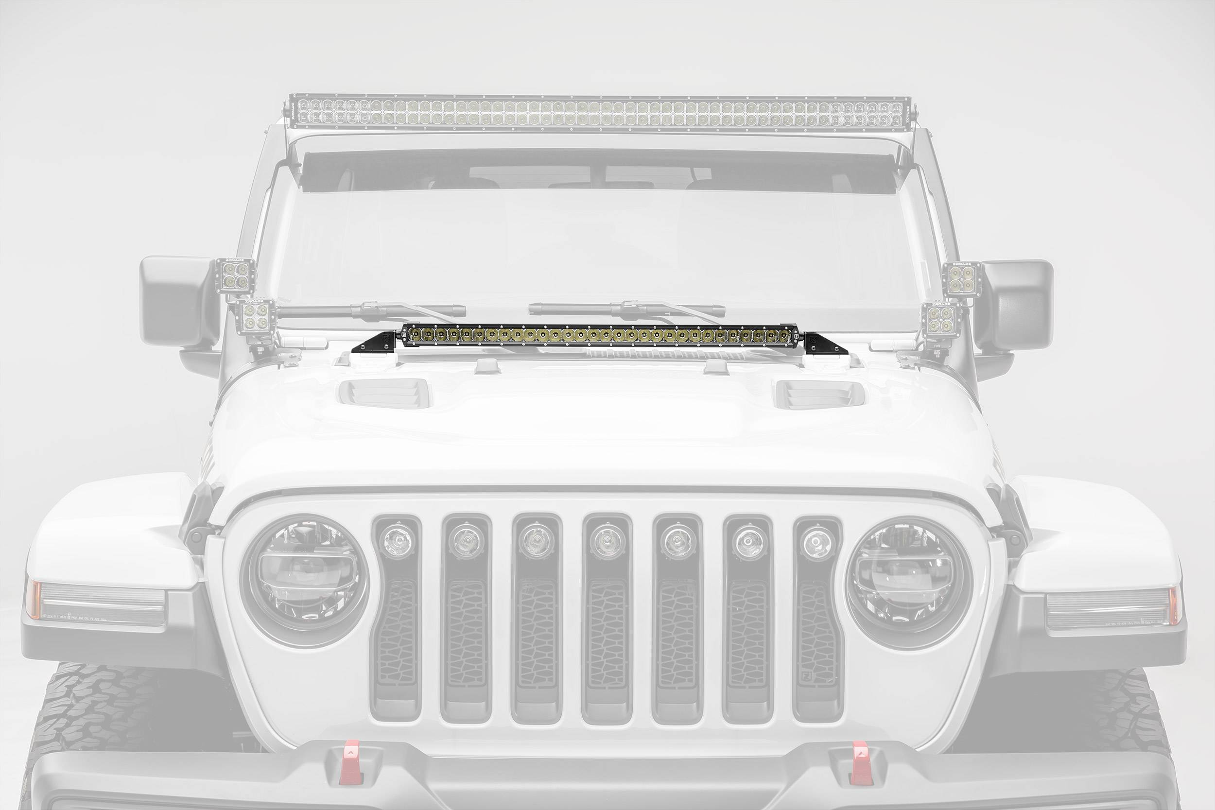 2018-2019 Jeep JL Hood Cowl LED Kit, Incl. (1) 30 Inch LED Straight Single Row Slim Light Bar - PN #Z364931-KIT