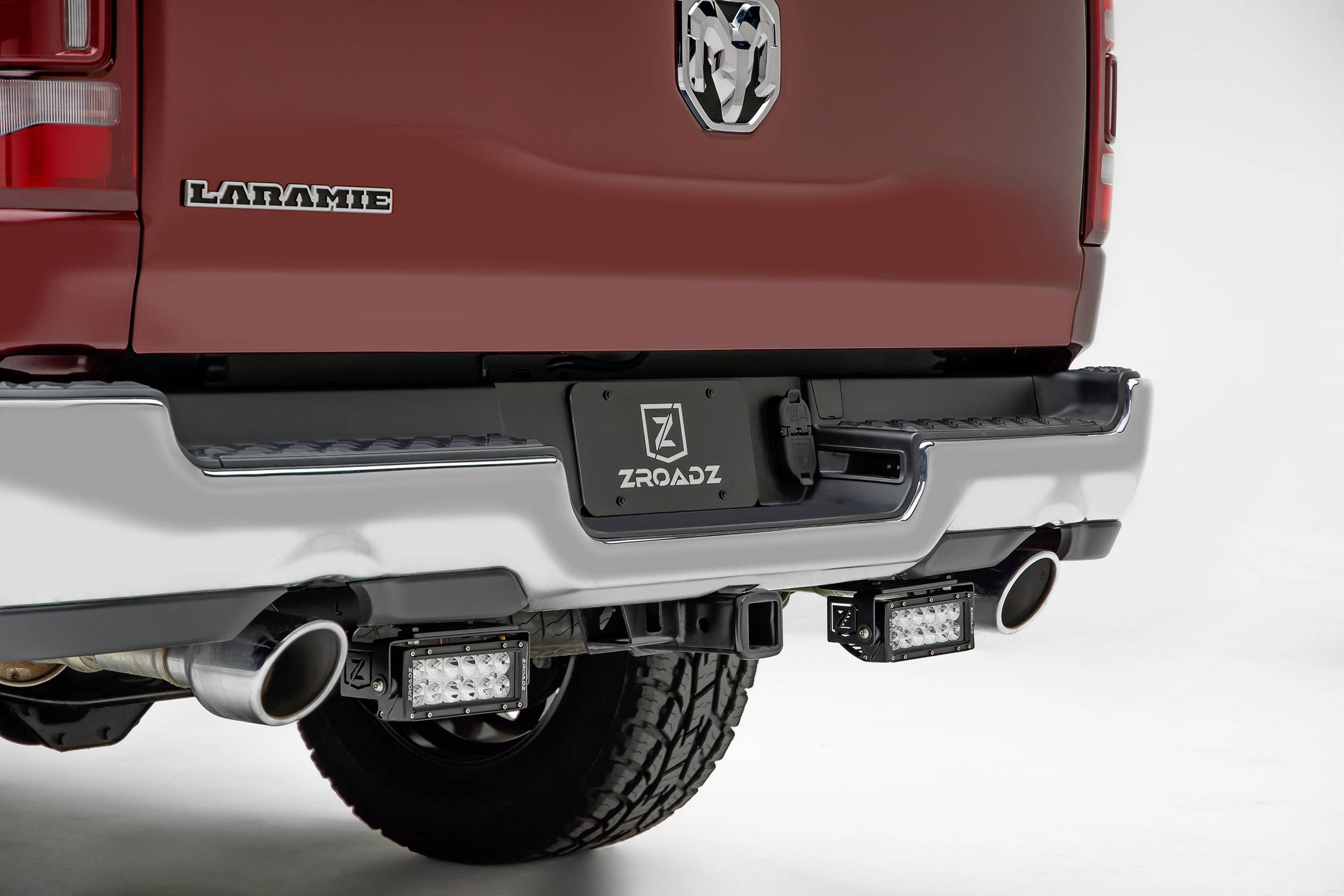 ZROADZ                                             - 2019-2021 Ram 1500 Rear Bumper LED Kit with (2) 6 Inch LED Straight Double Row Light Bars - PN #Z384721-KIT