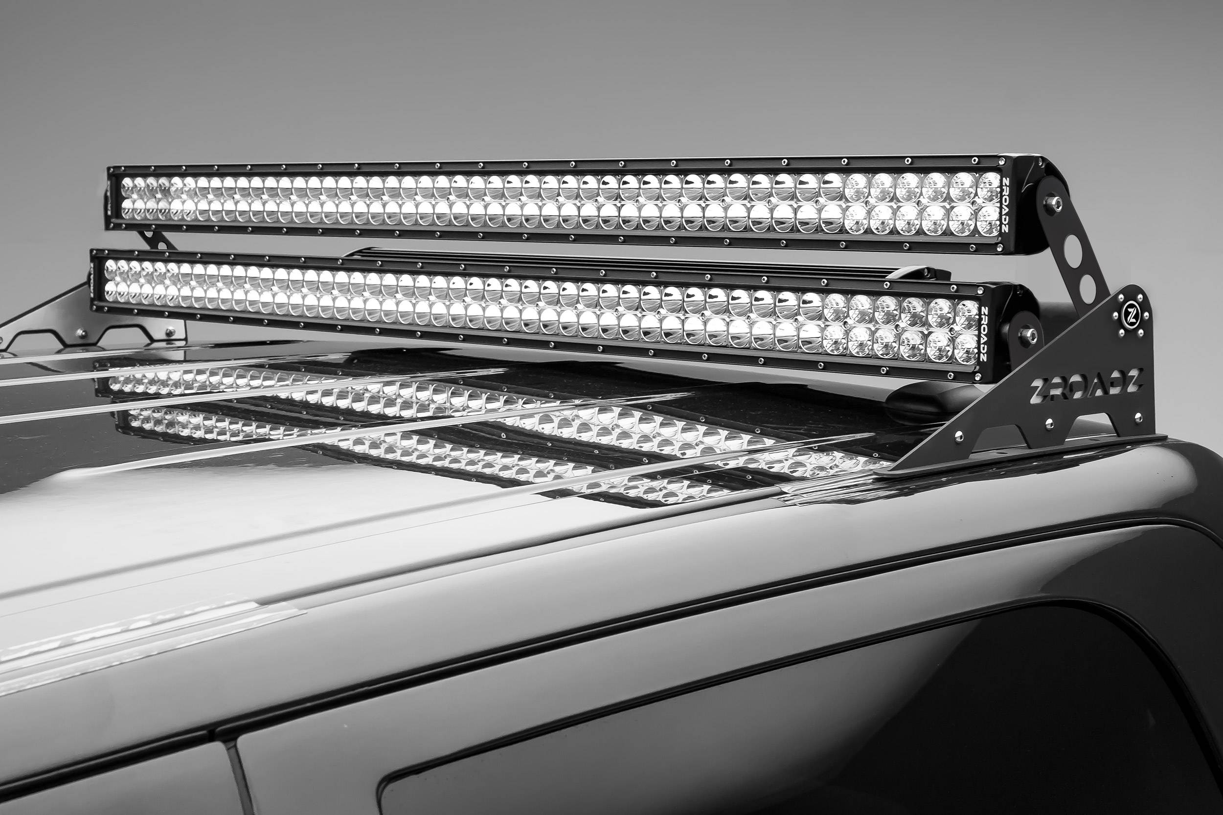 Universal Roof Mount LED Bracket Accessory To Add and Install Dual/Stacked Straight LED Light Bar - PN #Z350002