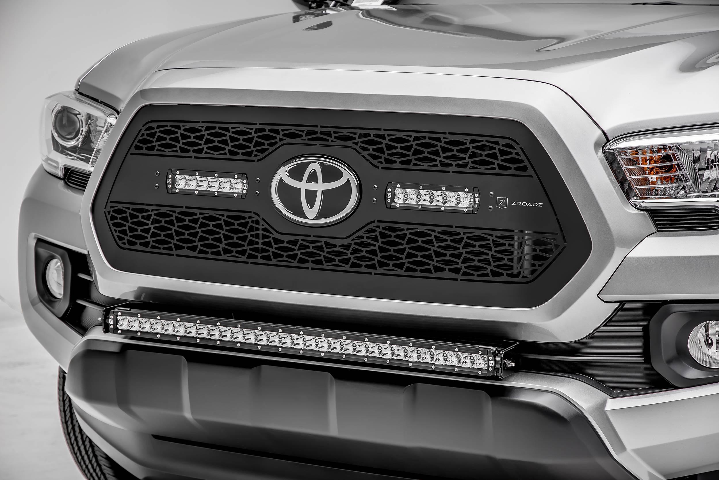 2018-2019 Toyota Tacoma Front Bumper Center LED Kit, Incl. (1) 30 Inch LED Straight Single Row Slim Light Bar - PN #Z329511-KIT-S