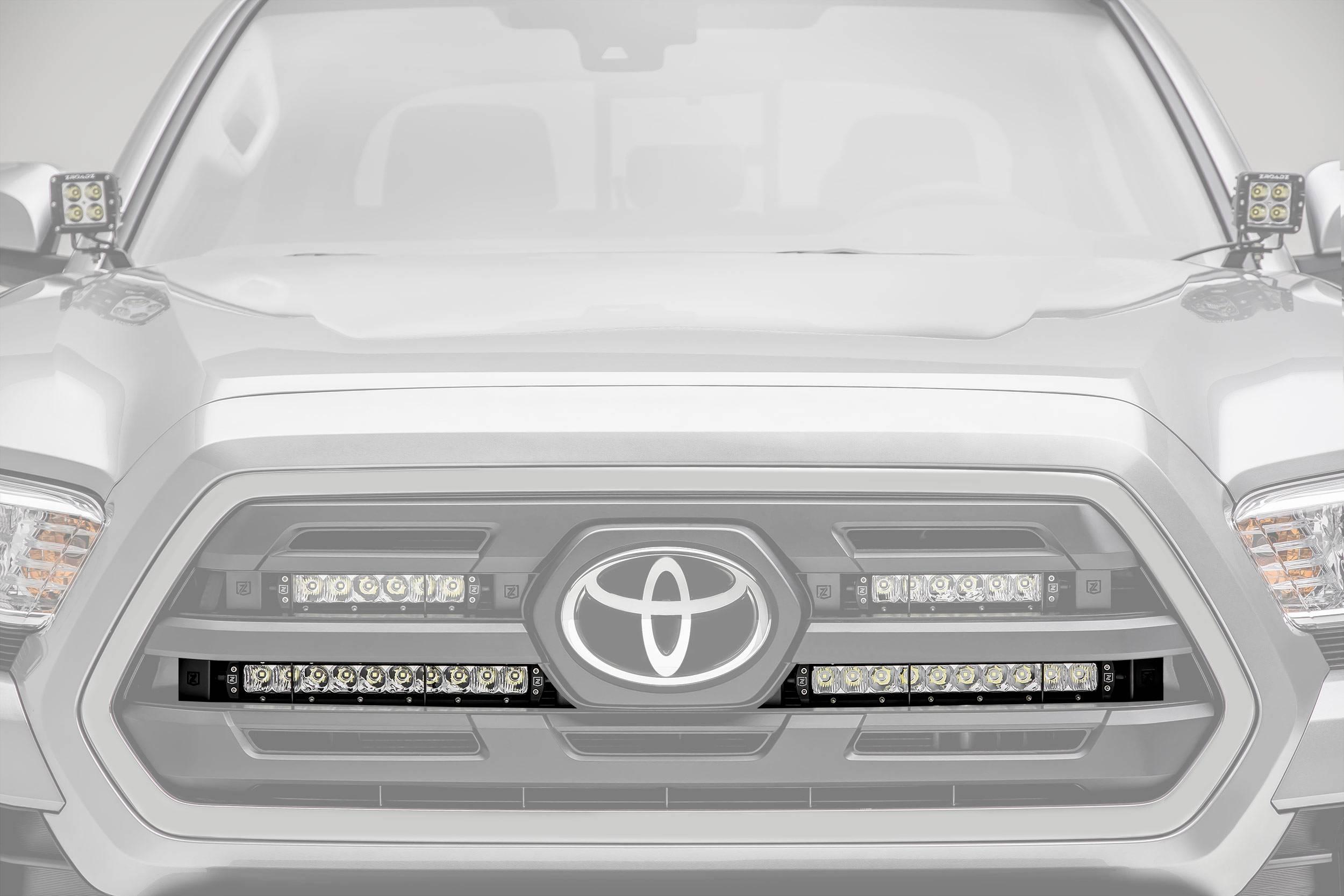 2018-2019 Toyota Tacoma OEM Grille LED Kit, Incl. (2) 10 Inch LED Single Row Slim Light Bars - PN #Z419611-KIT