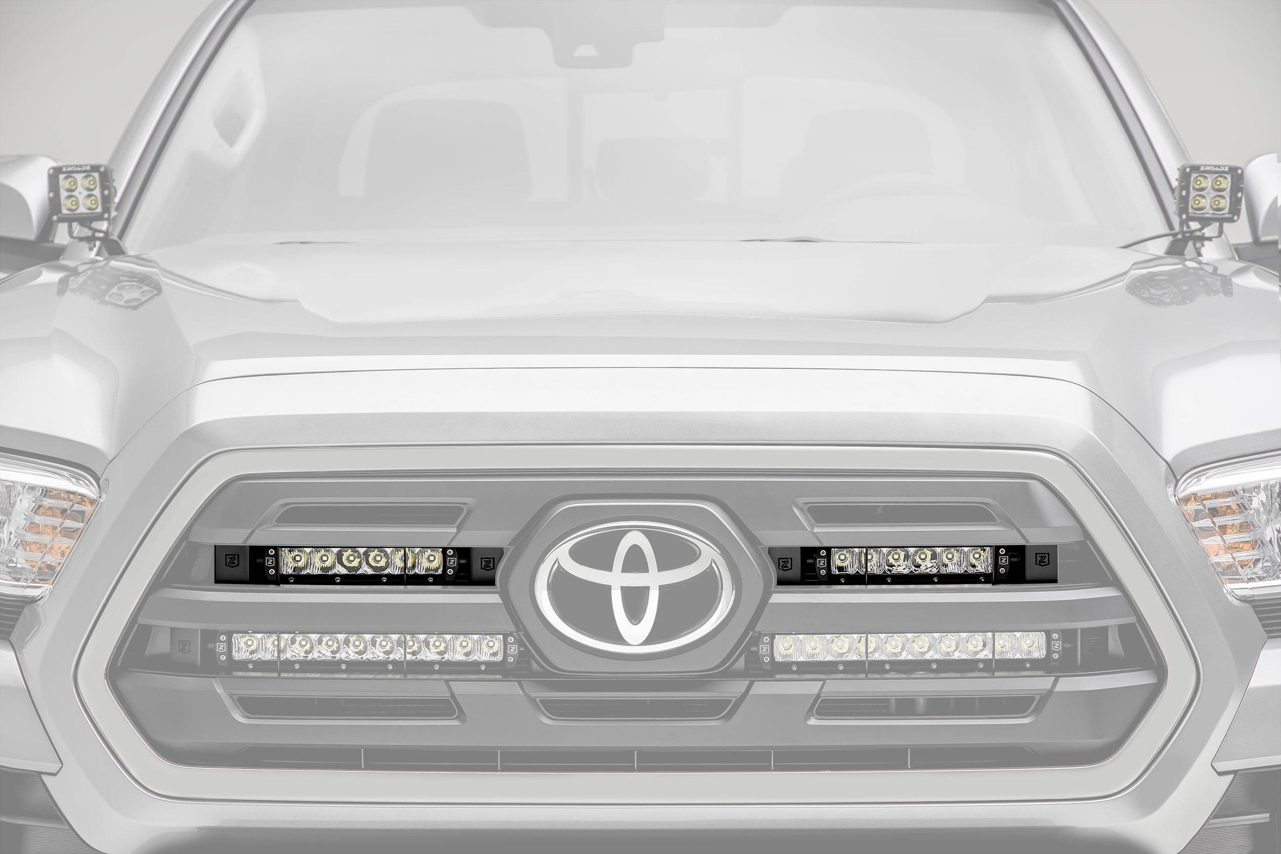ZROADZ                                             - 2018-2019 Toyota Tacoma OEM Grille LED Kit, Incl. (2) 6 Inch LED Straight Single Row Slim Light Bars - PN #Z419511-KIT
