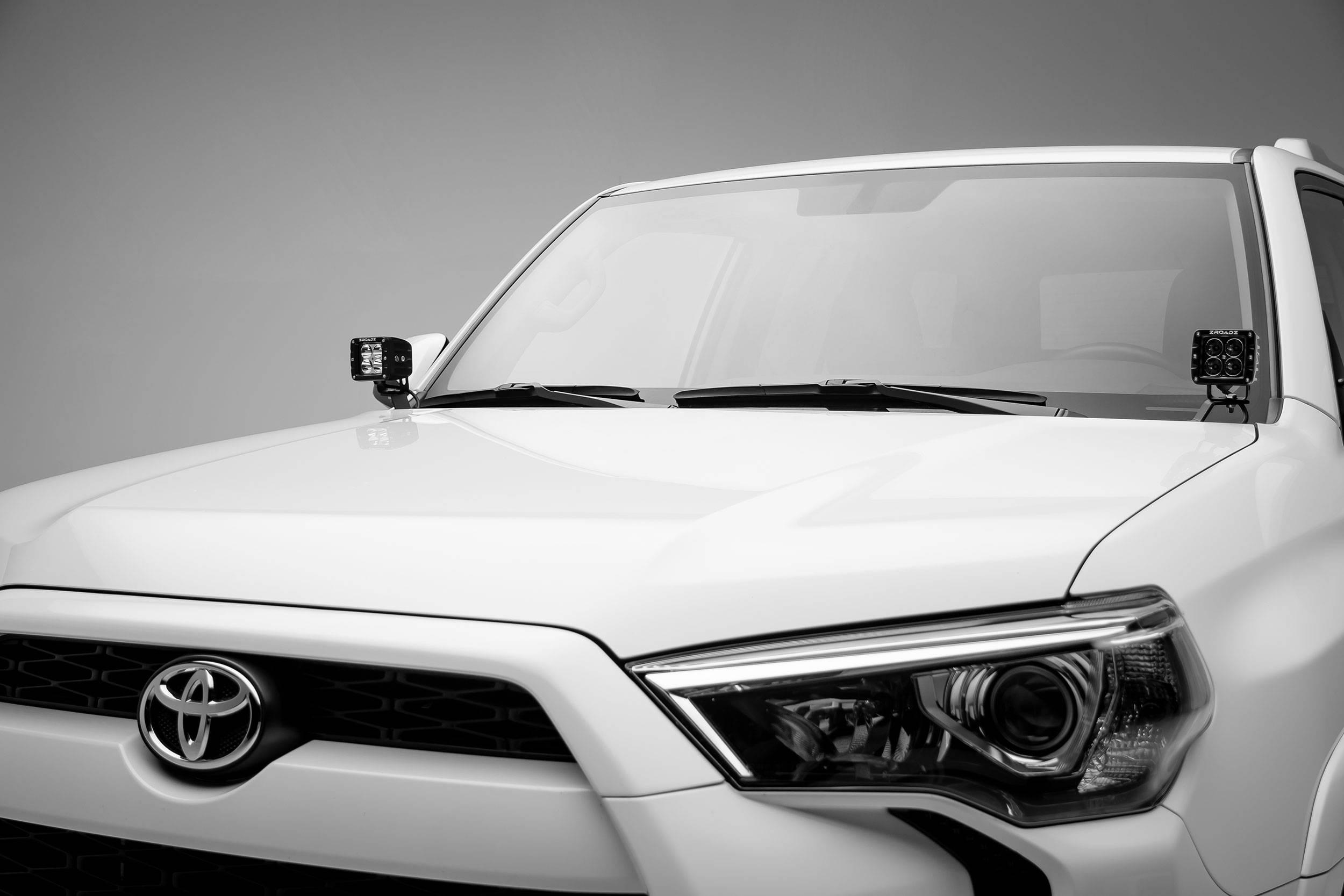 ZROADZ                                             - 2014-2019 Toyota 4Runner Hood Hinge LED Bracket to mount (2) 3 Inch LED Pod Lights - PN #Z369491
