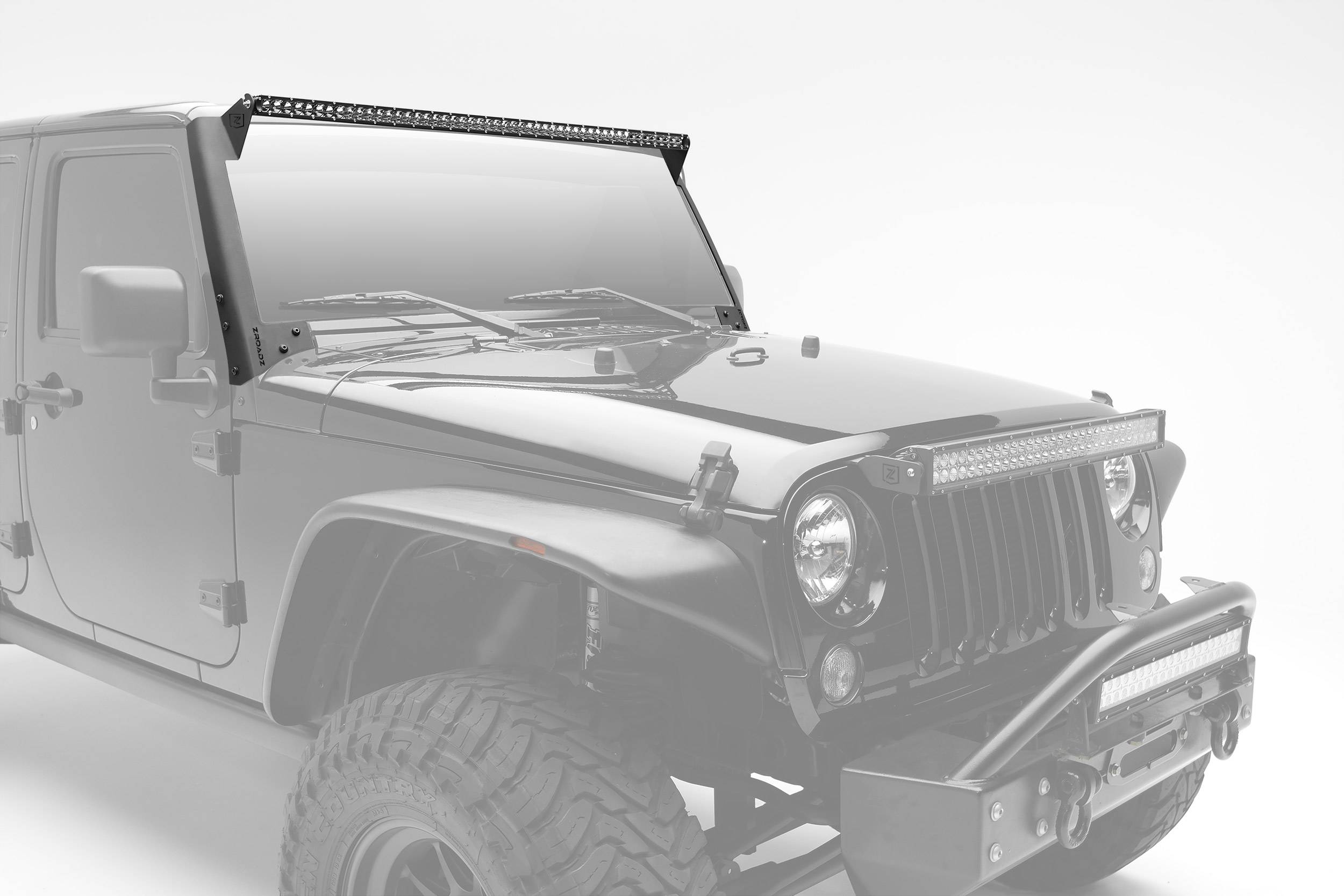 ZROADZ                                             - 2007-2017 Jeep JK Front Roof LED Kit, Incl. (1) 50 Inch LED Straight Single Row Slim Light Bar - PN #Z374711-KIT
