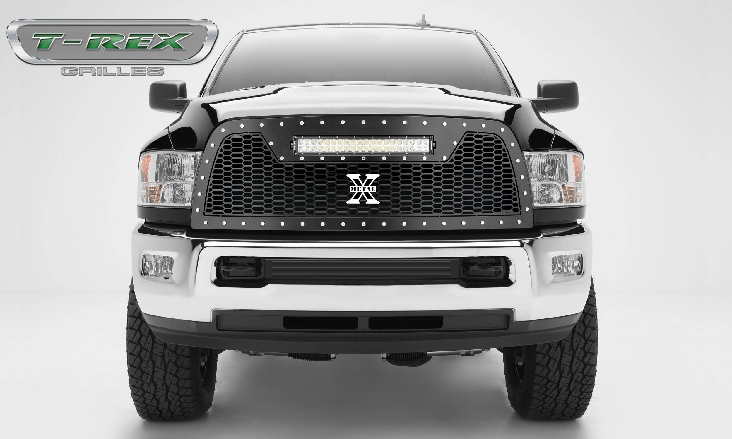 "T-REX GRILLES - 2013-2018 Ram 2500, 3500 Laser Torch Grille, Black, 1 Pc, Replacement, Chrome Studs, Incl. (1) 20"" LED - PN #7314521"