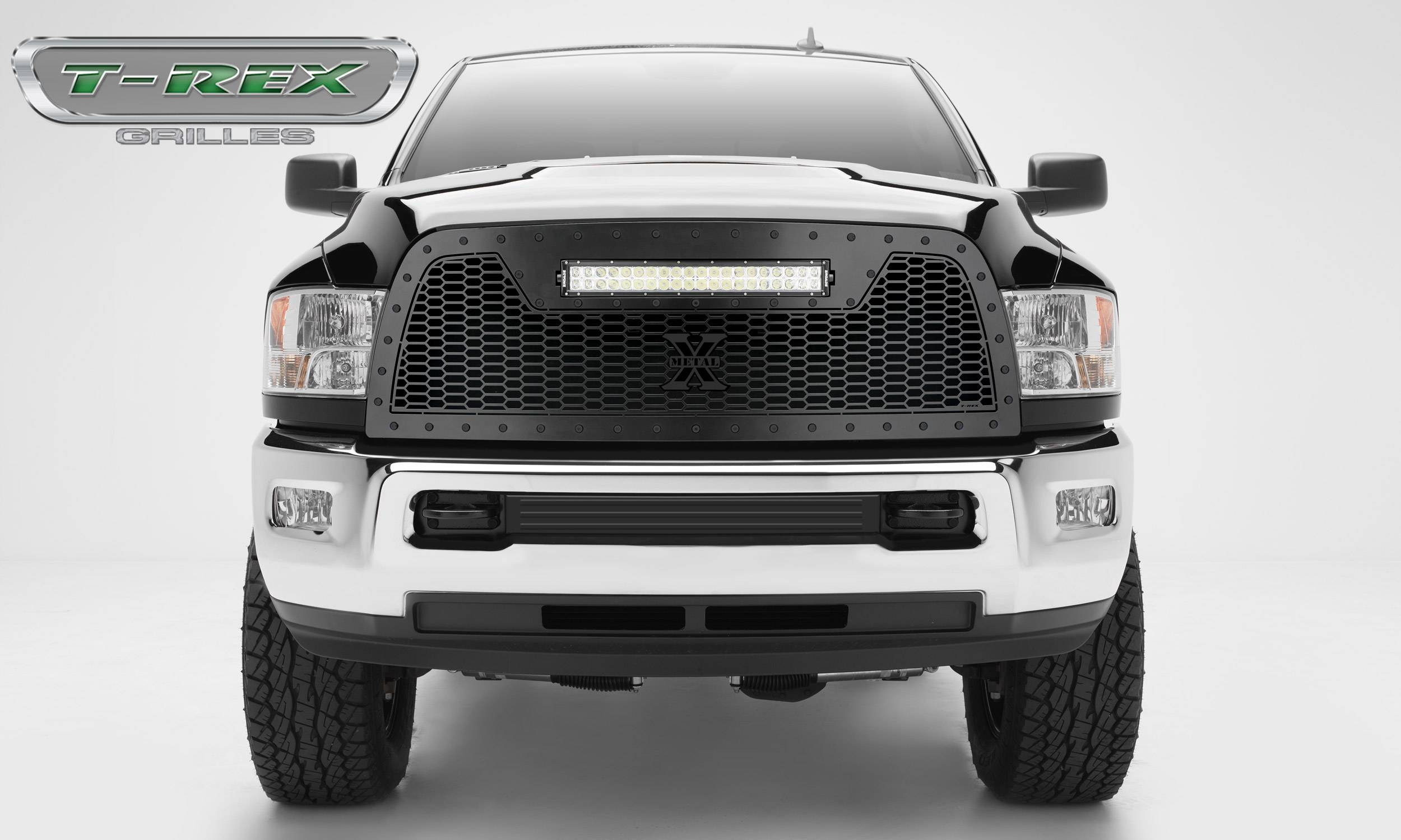 "T-REX GRILLES - 2013-2018 Ram 2500, 3500 Stealth Laser Torch Grille, Black, 1 Pc, Replacement, Black Studs, Incl. (1) 20"" LED - PN #7314521-BR"