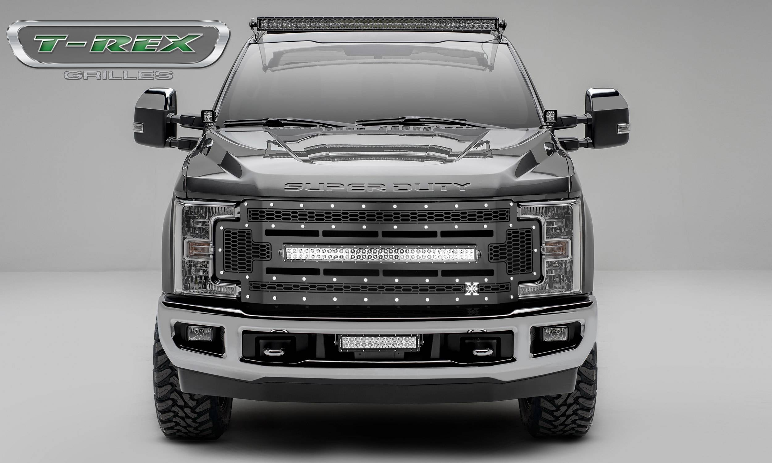 "T-REX GRILLES - 2017-2019 Super Duty Laser Torch Grille, Black, 1 Pc, Replacement, Chrome Studs with (1) 30"" LED - PN #7315471"