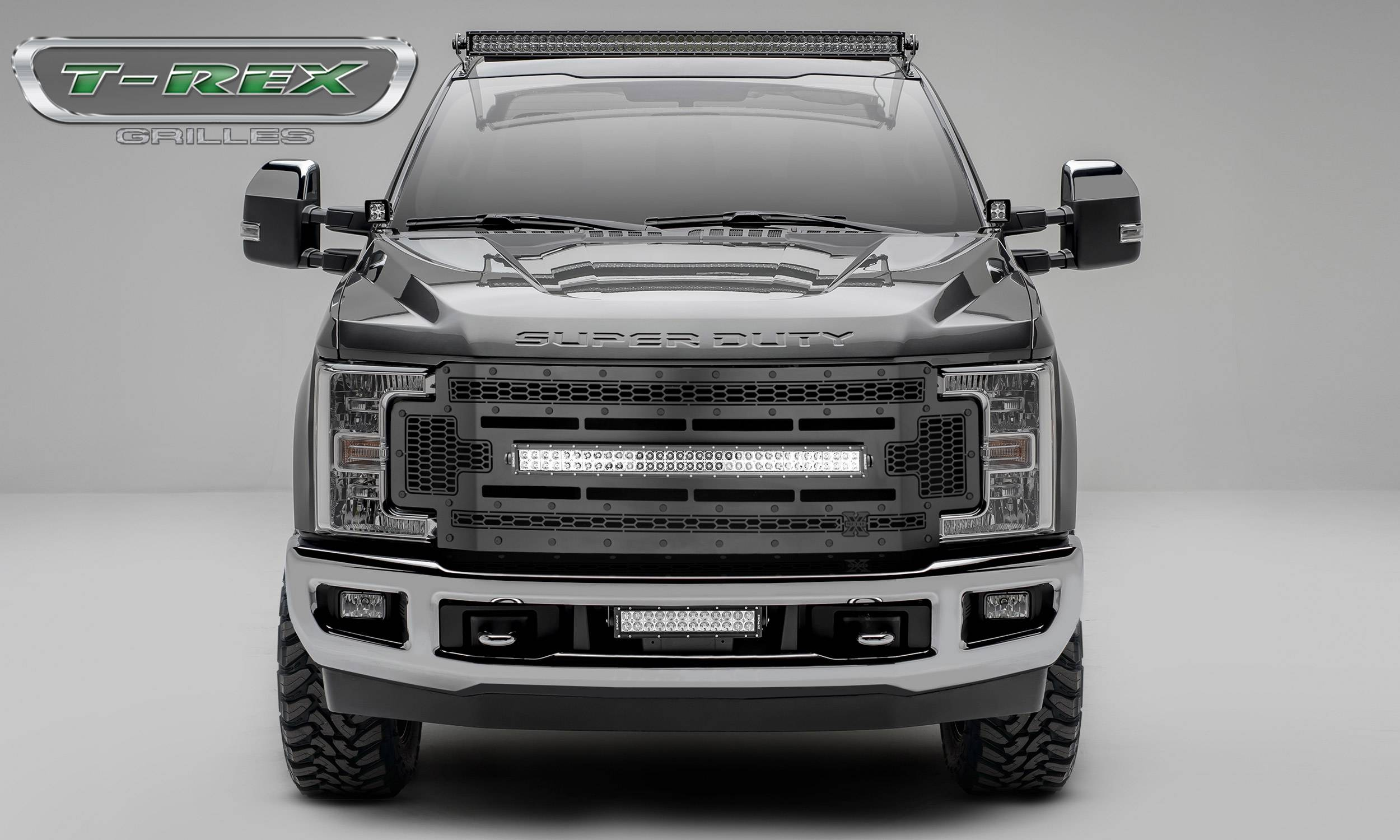 "2017-2019 Super Duty Stealth Laser Torch Grille, Black, 1 Pc, Replacement, Black Studs, Incl. (1) 30"" LED - PN #7315471-BR"
