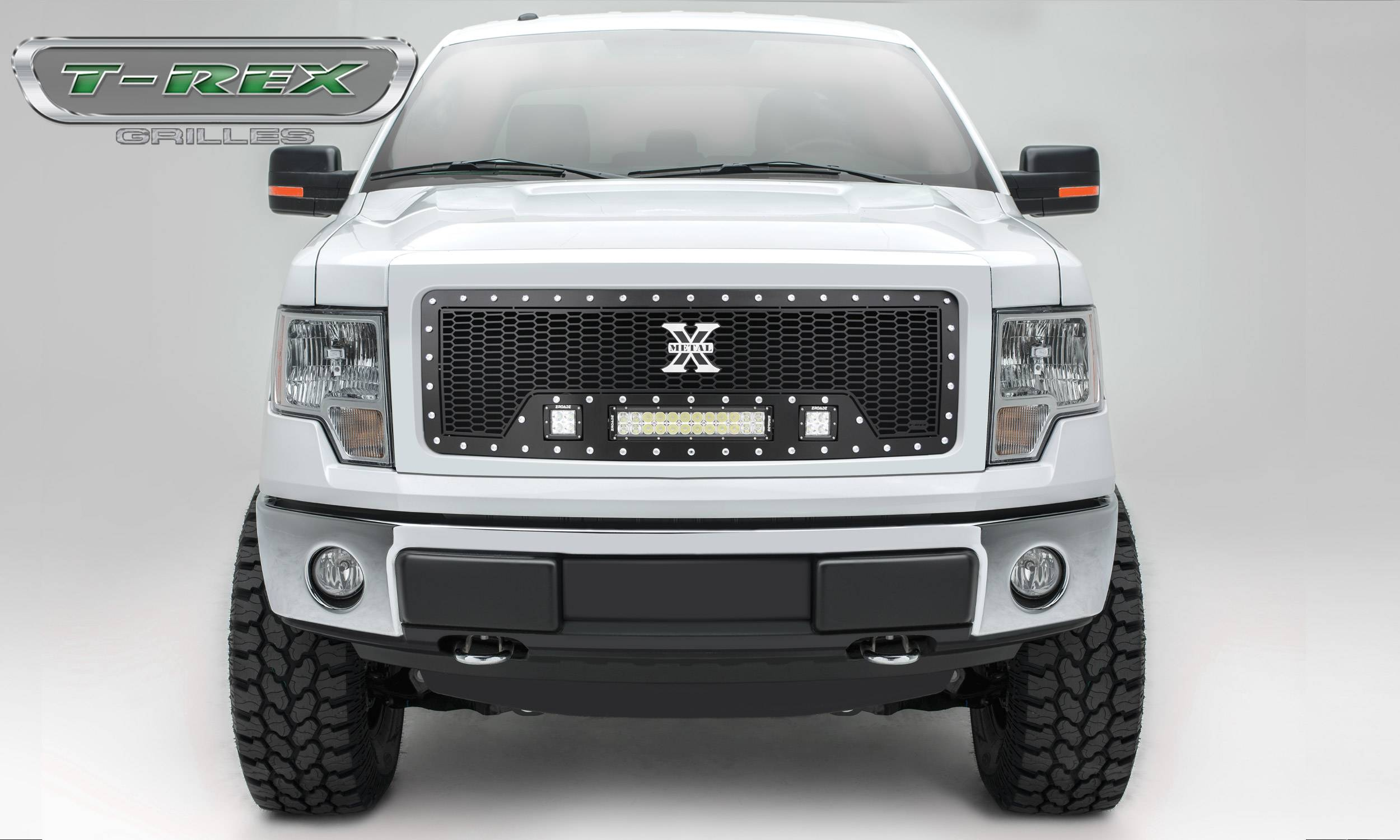 "T-REX GRILLES - 2013-2014 F-150 Laser Torch Grille, Black, 1 Pc, Insert, Chrome Studs with (2) 3"" LED Cubes and (1) 12"" LEDs - PN #7315721"