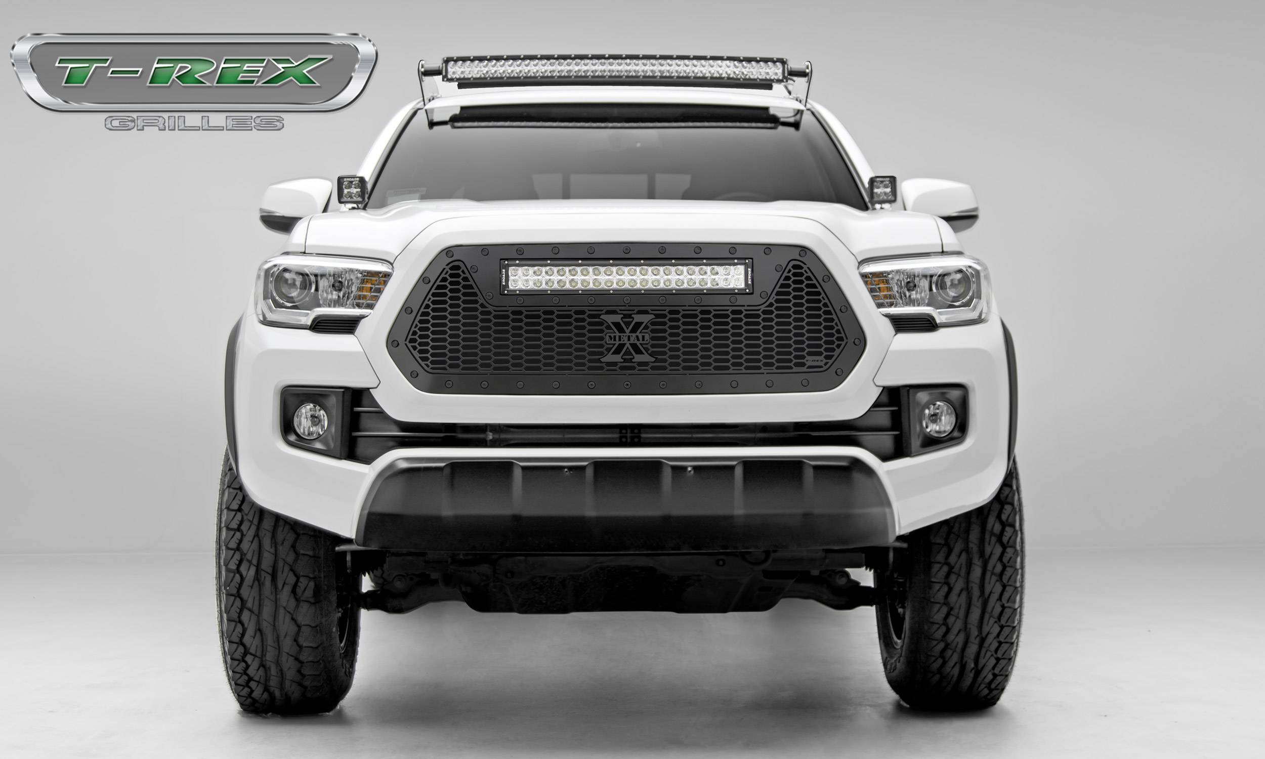 "T-REX GRILLES - 2016-2017 Tacoma Stealth Laser Torch Grille, Black, 1 Pc, Insert, Black Studs with (1) 20"" LED - PN #7319411-BR"