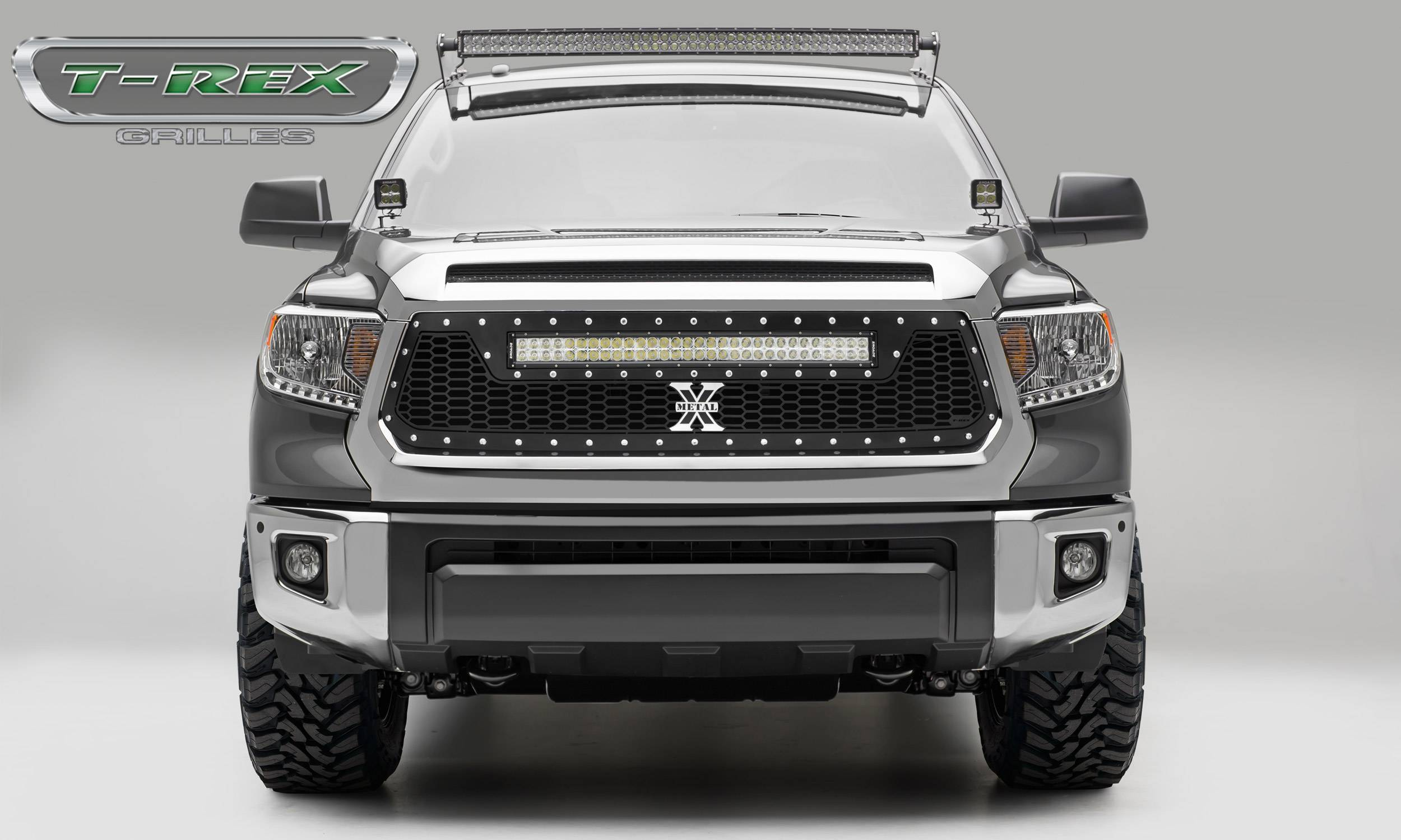 "T-REX GRILLES - 2014-2017 Tundra Laser Torch Grille, Black, 1 Pc, Replacement, Chrome Studs, Incl. (1) 30"" LED - PN #7319641"