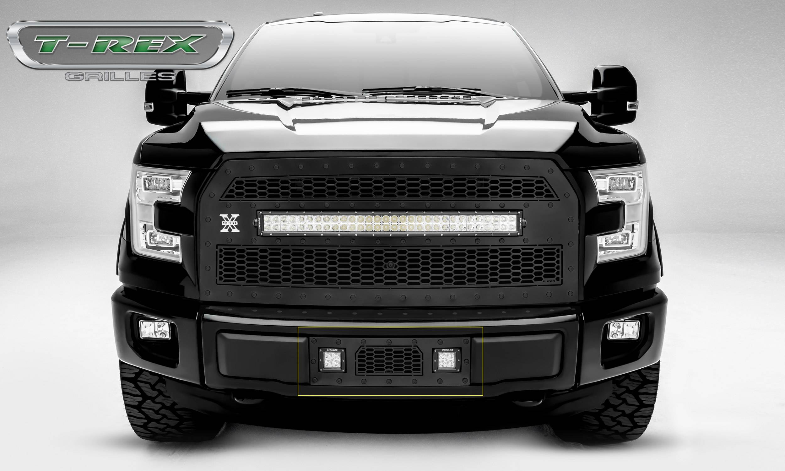 "2015-2017 F-150 Stealth Laser Torch Bumper Grille, Black, 1 Pc, Insert, Black Studs, Incl. (2) 3"" LED Cube Lights - PN #7325731-BR"