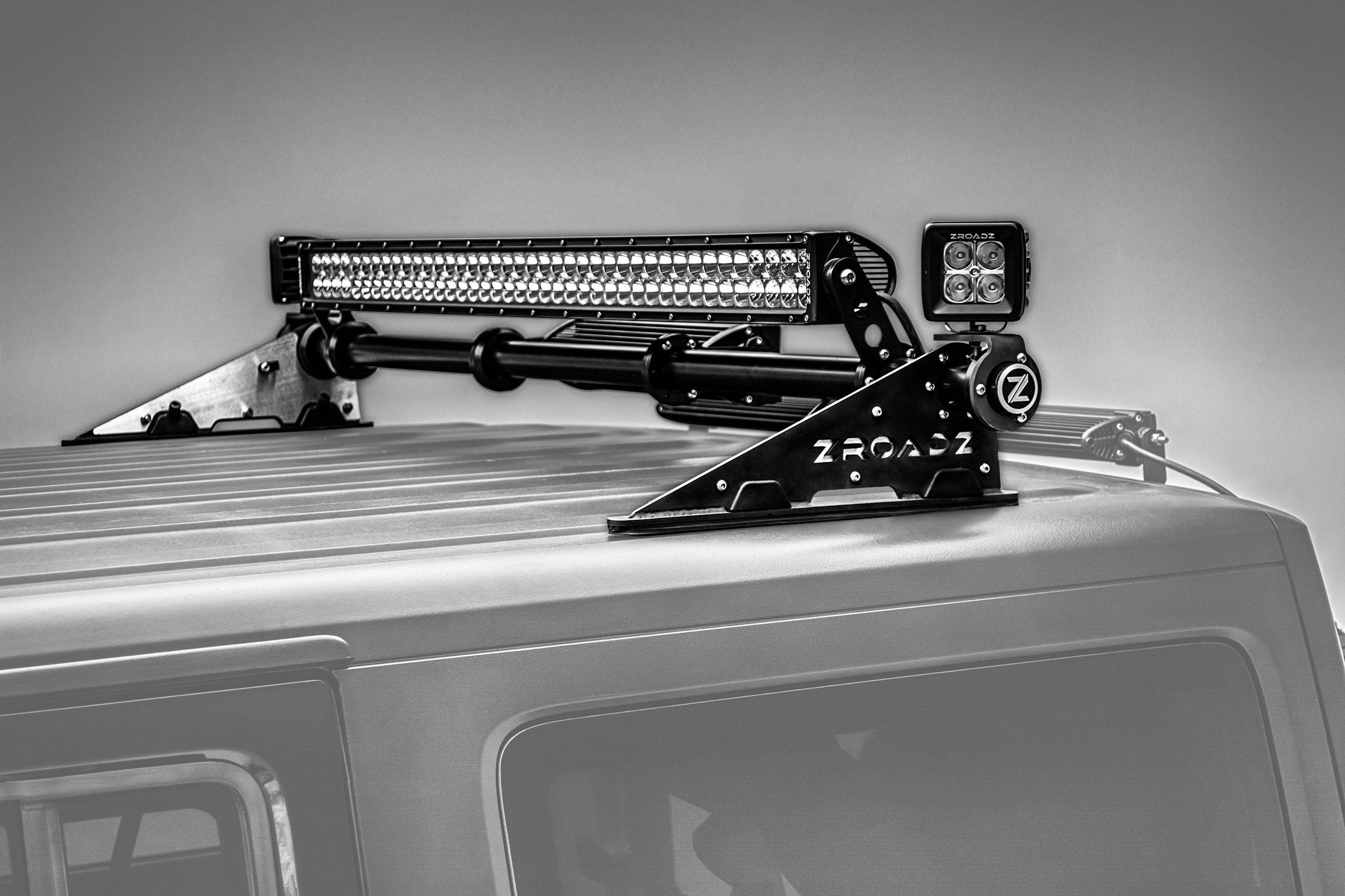 ZROADZ                                             - Jeep JK, JL Modular Rack LED Kit, Incl. (1) 40 Inch (1) 20 Inch Straight Double Row Light Bars, (2) 3 Inch LED Pod Lights - PN #Z350050-JK-KIT-B