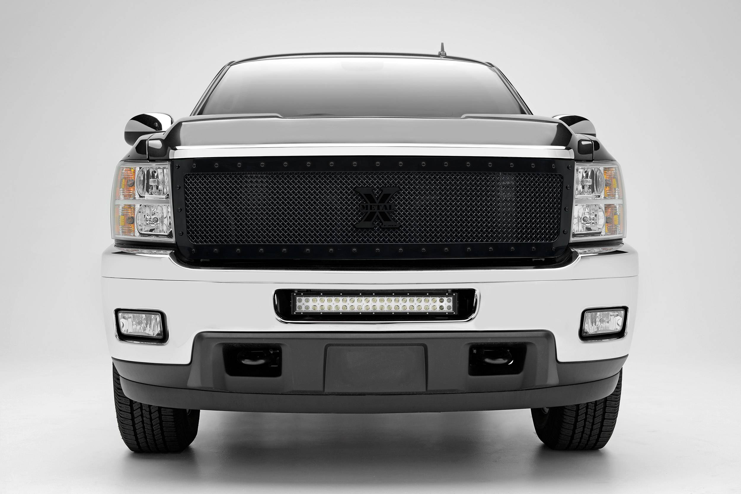2011-2013 Chevrolet Silverado 2500, 3500 Front Bumper Center LED Kit, Incl. (1) 20 Inch LED Straight Double Row Light Bar - PN #Z321151-KIT