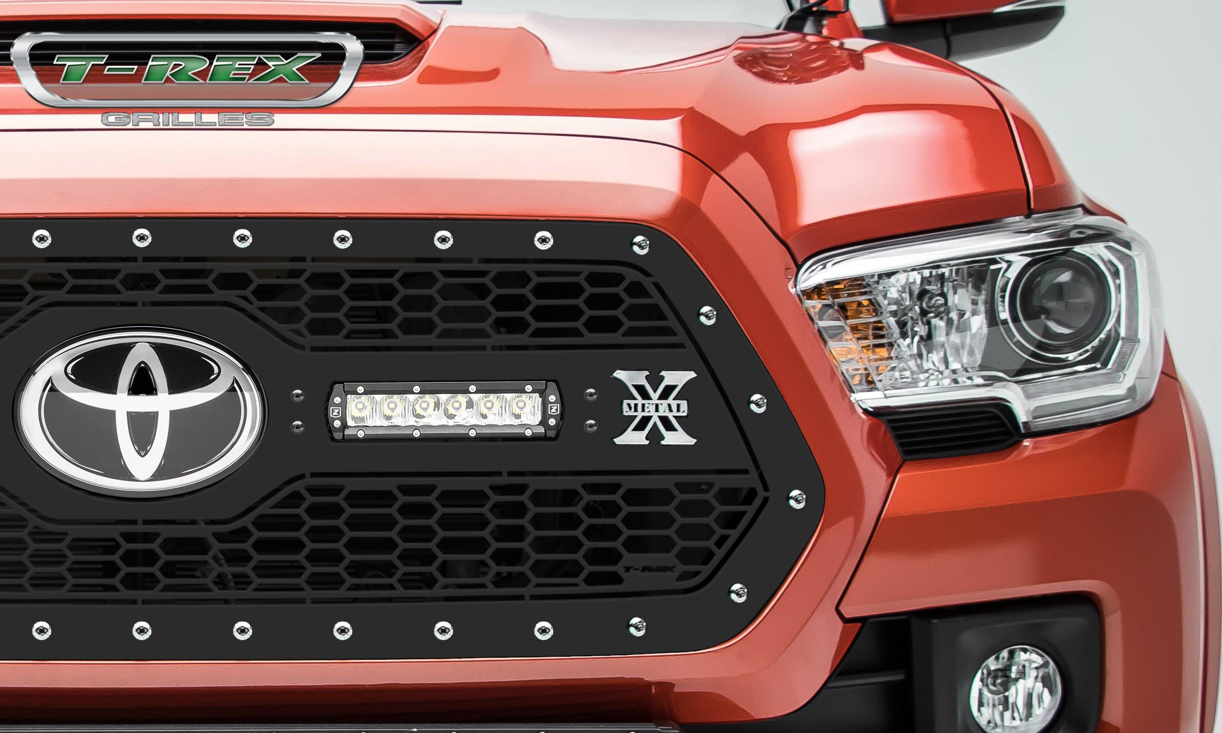 """T-REX GRILLES - 2018-2021 Tacoma Laser Torch Grille, Black, 1 Pc, Insert, Chrome Studs with (2) 6"""" LEDs, Does Not Fit Vehicles with Camera - PN #7319511"""