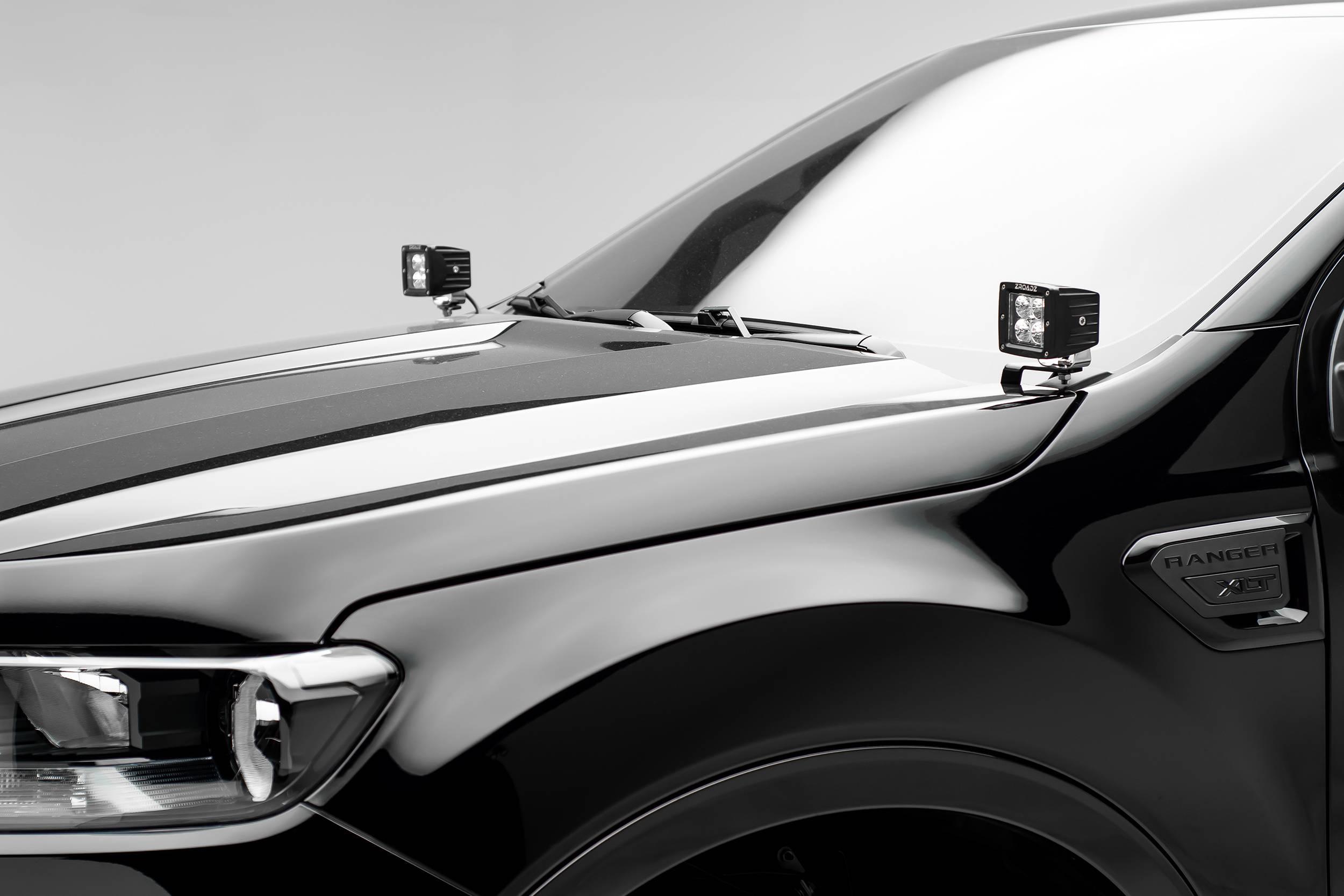 ZROADZ                                             - 2019-2021 Ford Ranger Hood Hinge LED Bracket to mount (2) 3 Inch LED Pod Lights - PN #Z365821