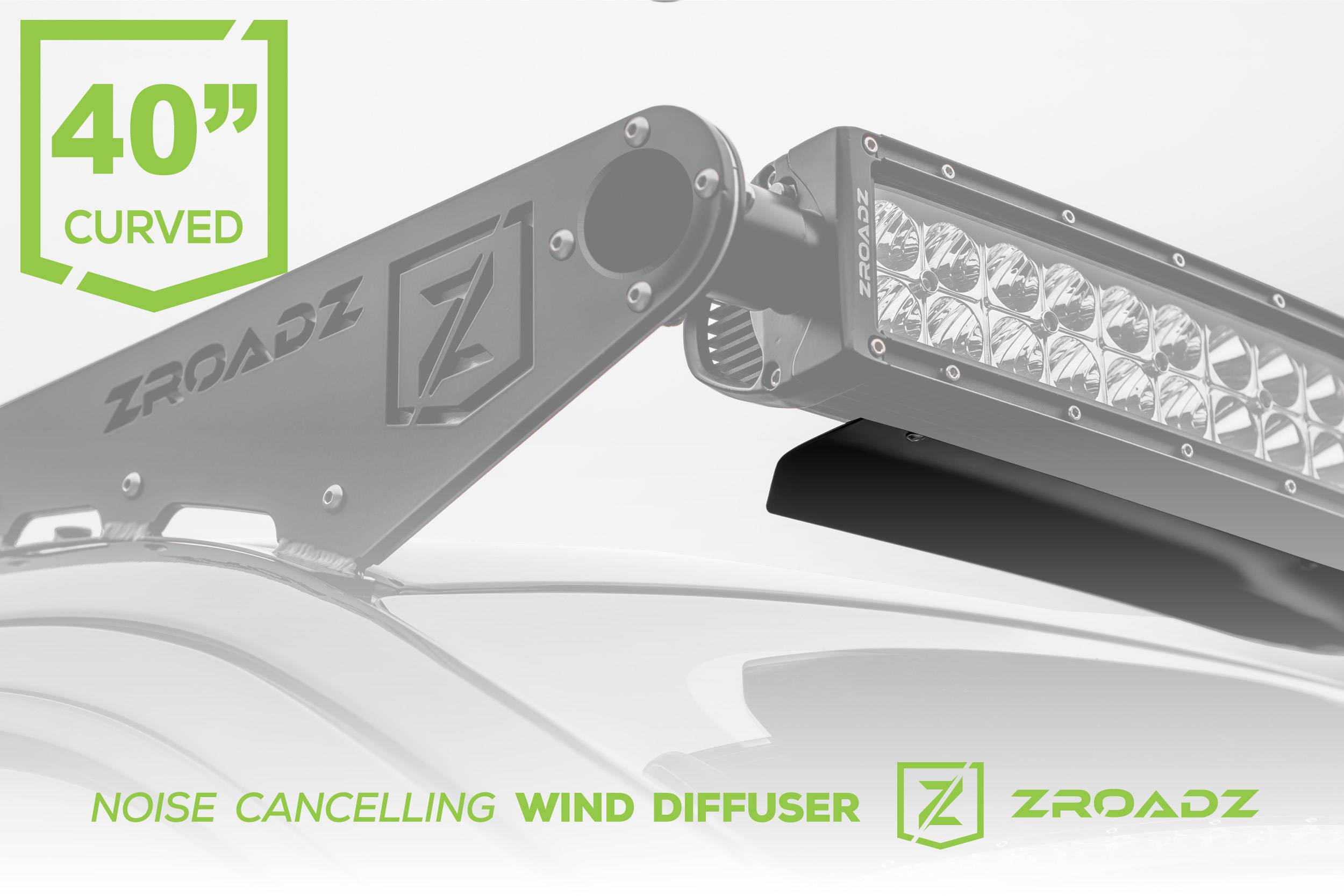 ZROADZ                                             - Noise Cancelling Wind Diffuser for 40 Inch Curved LED Light Bar - PN #Z330040C