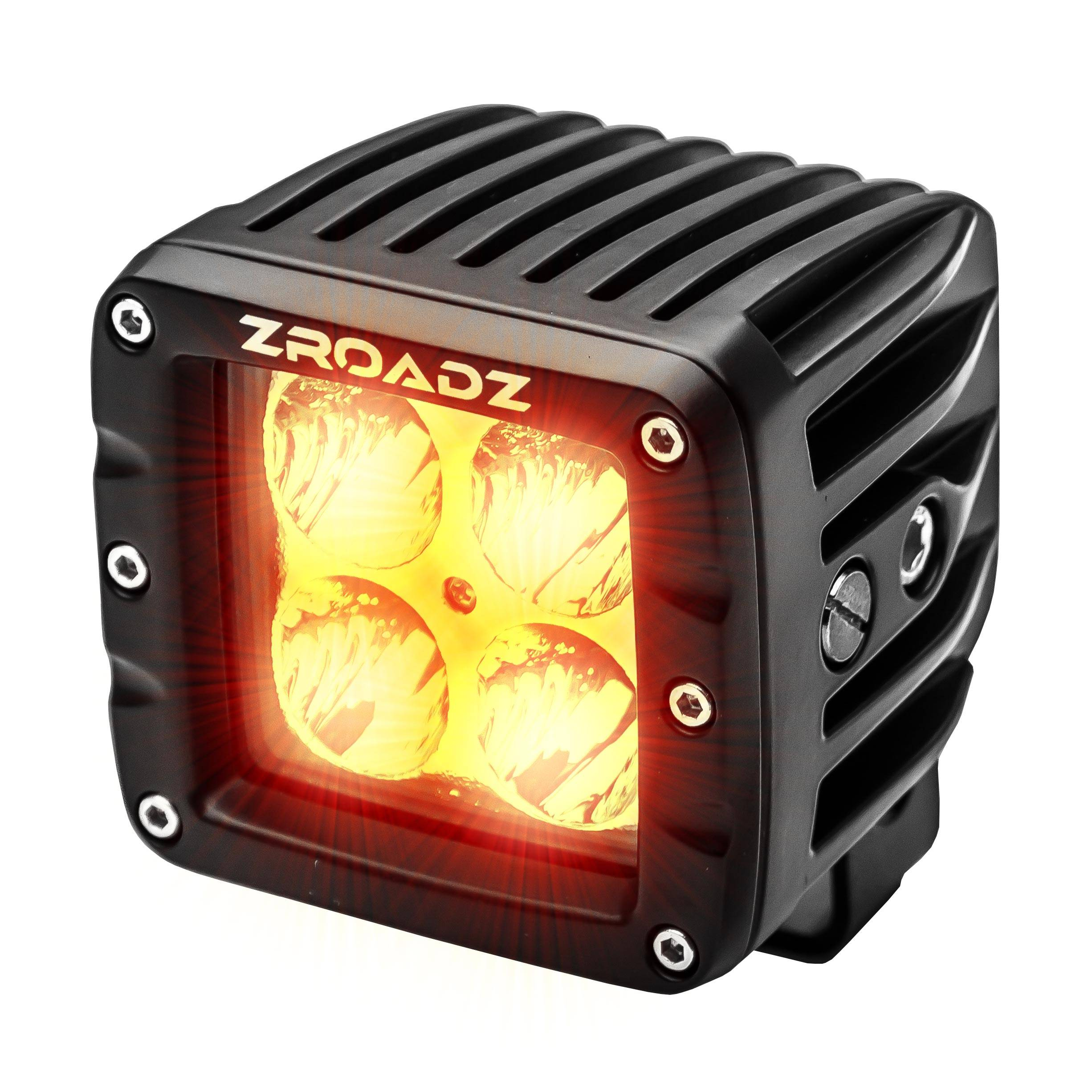 ZROADZ                                             - 3 Inch AMBER LED Flood Beam Pod Light - PN #Z30BC20W-2-E4A
