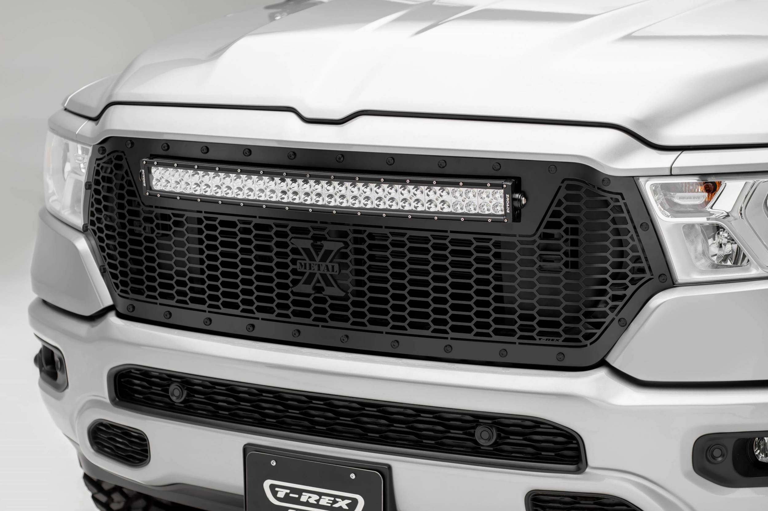 T-REX GRILLES - 2019-2021 Ram 1500 Laramie, Lone Star, Big Horn, Tradesman Stealth Laser Torch Grille, Black, 1 Pc, Replacement, Black Studs with 30 Inch LED, Does Not Fit Vehicles with Camera - PN #7314651-BR