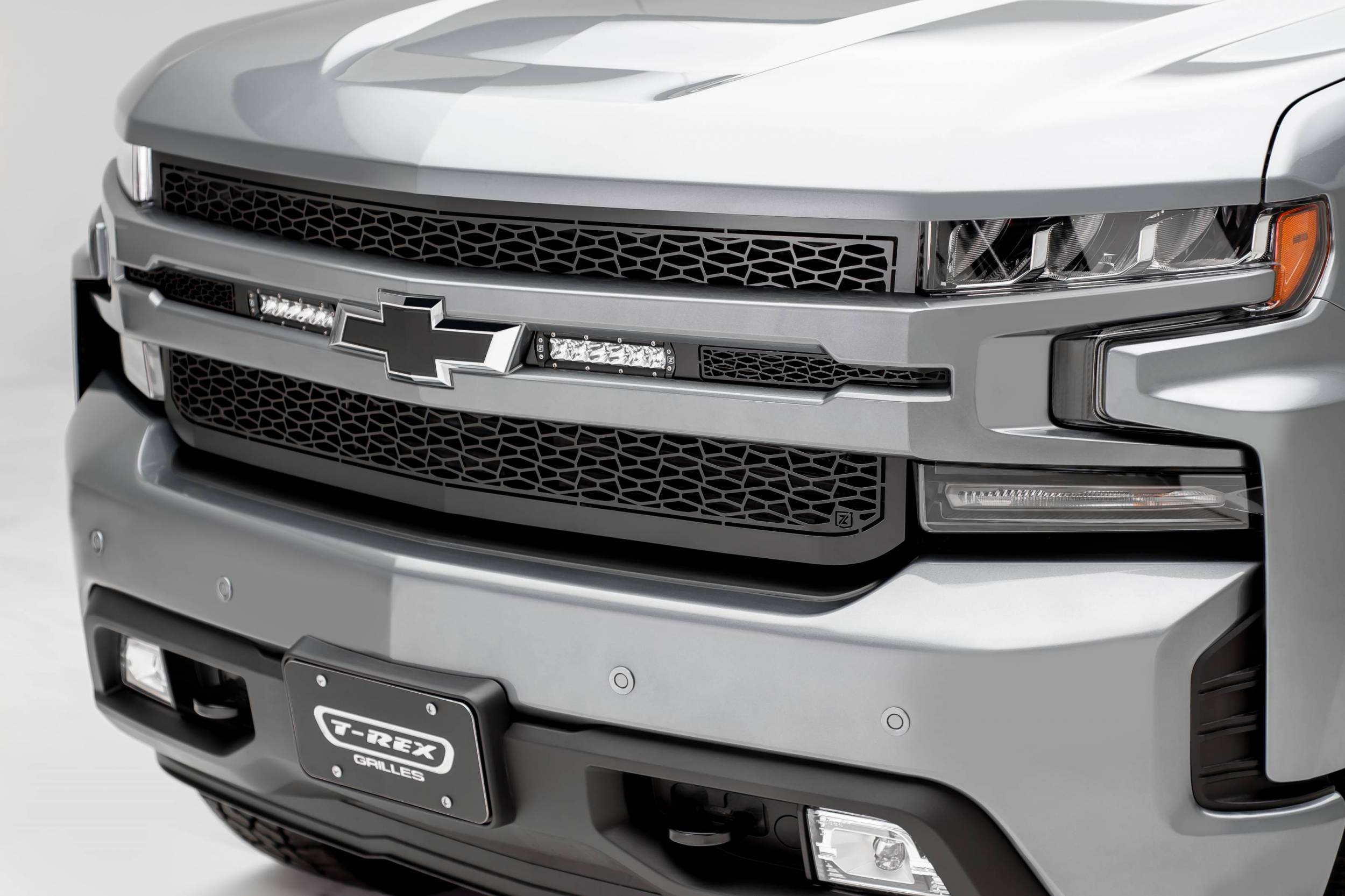 """T-REX GRILLES - 2019-2021 Silverado 1500 ZROADZ Grille, Black, 1 Pc, Replacement with (2) 6"""" LEDs, Does Not Fit Vehicles with Camera - PN #Z311261"""