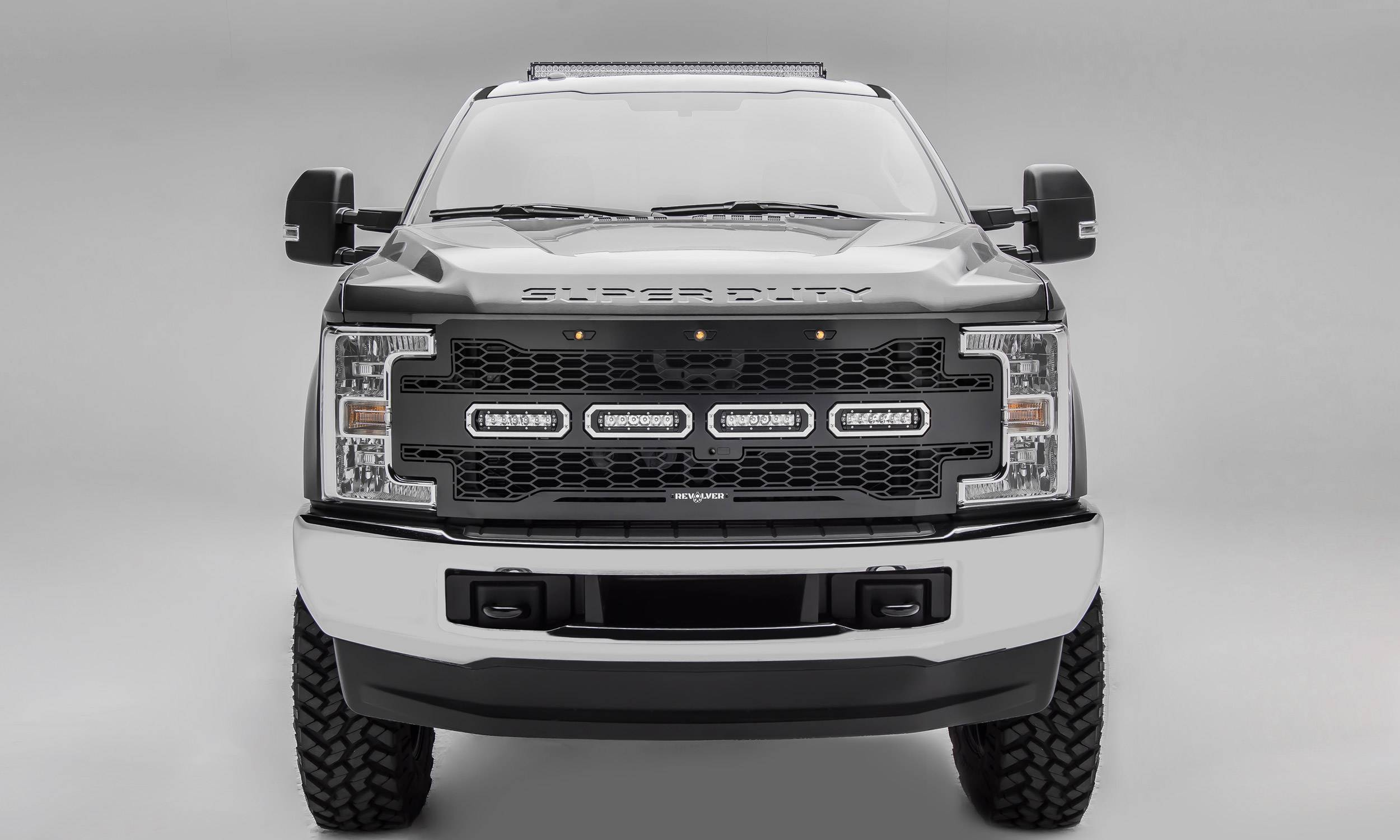 "T-REX GRILLES - 2017-2019 Super Duty Revolver Grille, Black, 1 Pc, Replacement, Chrome Studs with (4) 6"" LEDs, Fits Vehicles with Camera - PN #6515631"