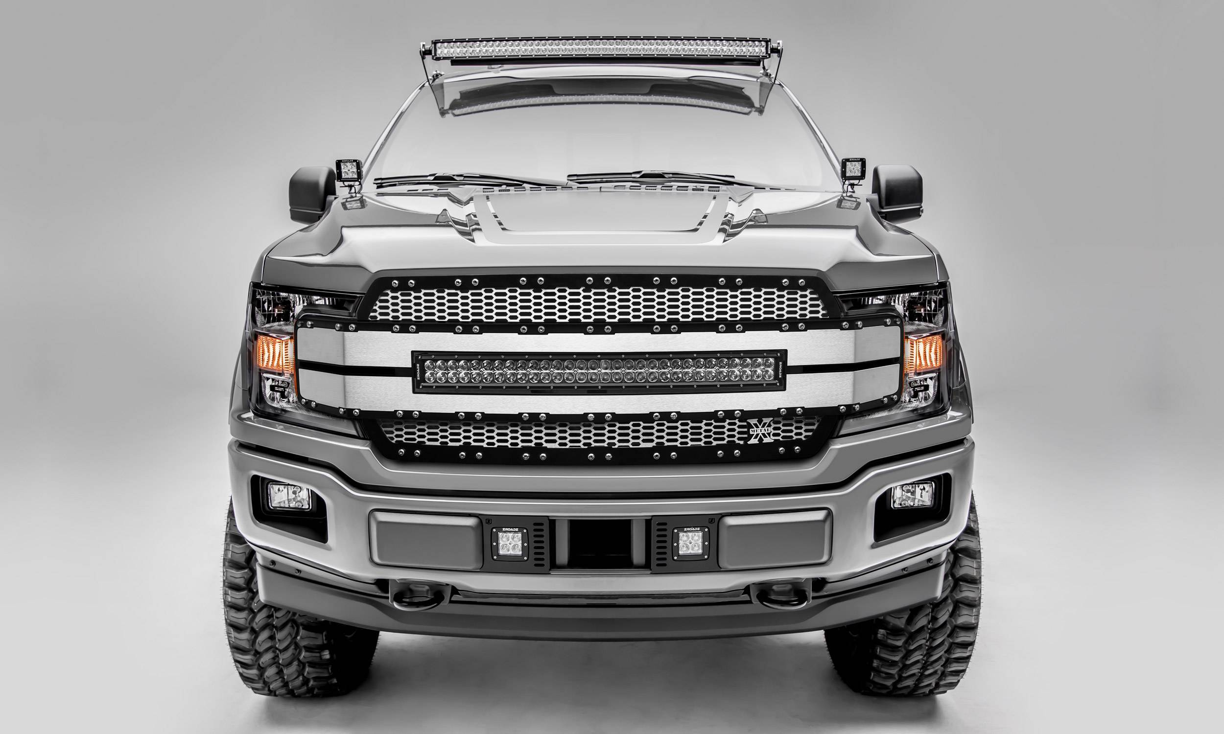 "T-REX GRILLES - 2018-2020 F-150 Torch AL Grille, Brushed Mesh and Trim, 1 Pc, Replacement, Chrome Studs, Incl. (1) 30"" LED - PN #6315785"