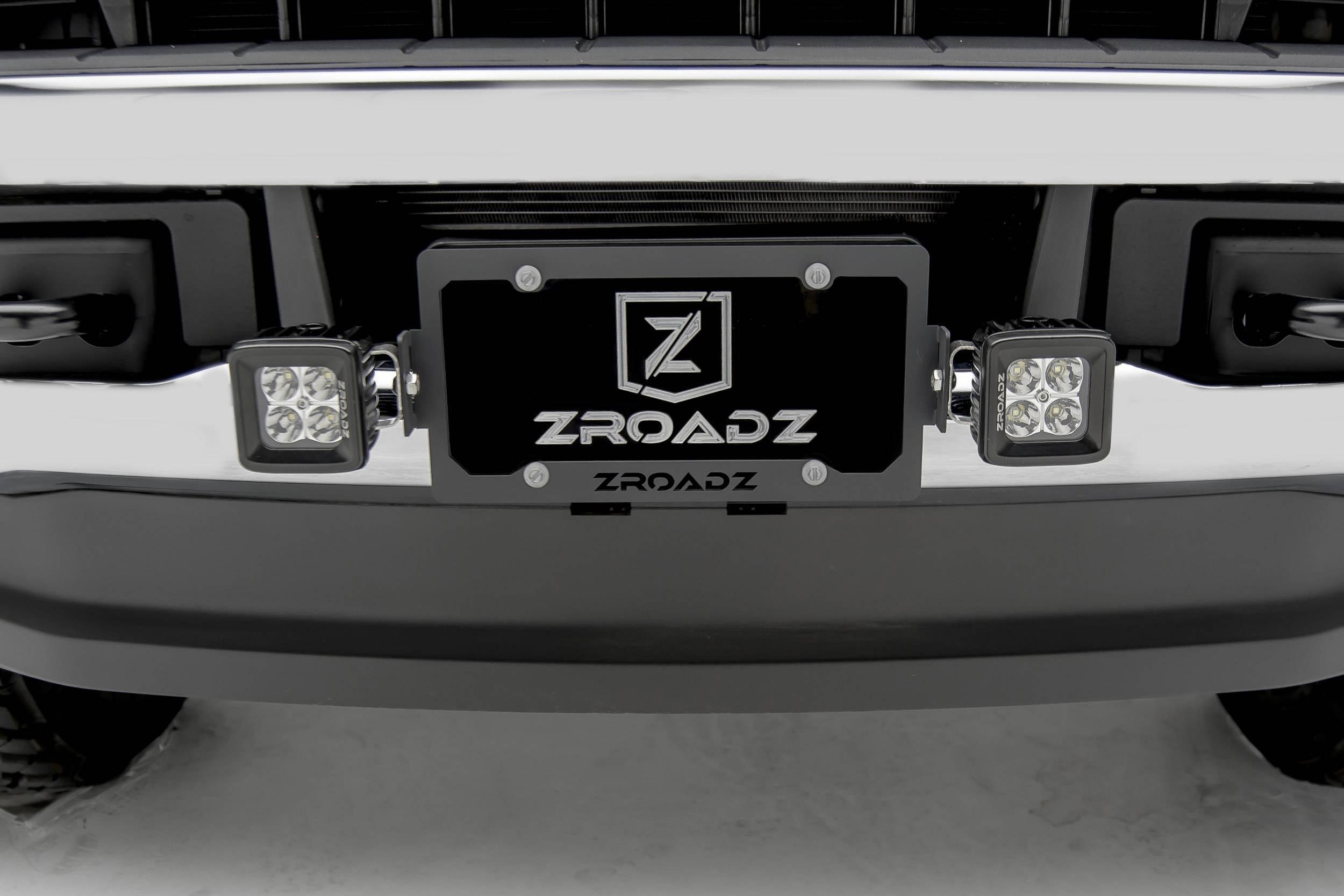 ZROADZ                                             - Universal License Plate Frame LED Bracket to mount (2) 3 Inch LED Pod Lights - PN #Z310005