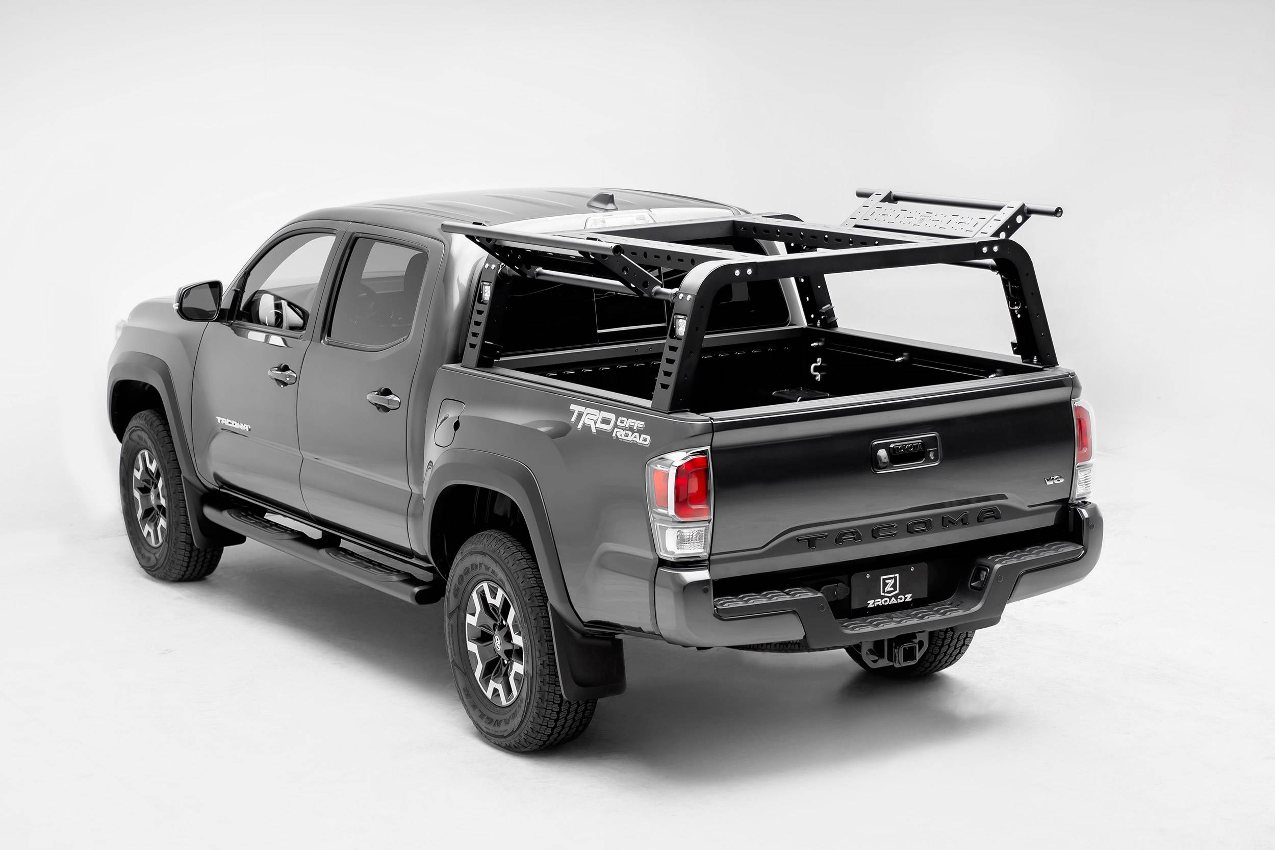 ZROADZ                                             - 2016-2021 Toyota Tacoma Overland Access Rack With Side Gates with (4) 3 Inch ZROADZ LED Pod Lights - PN #Z839101