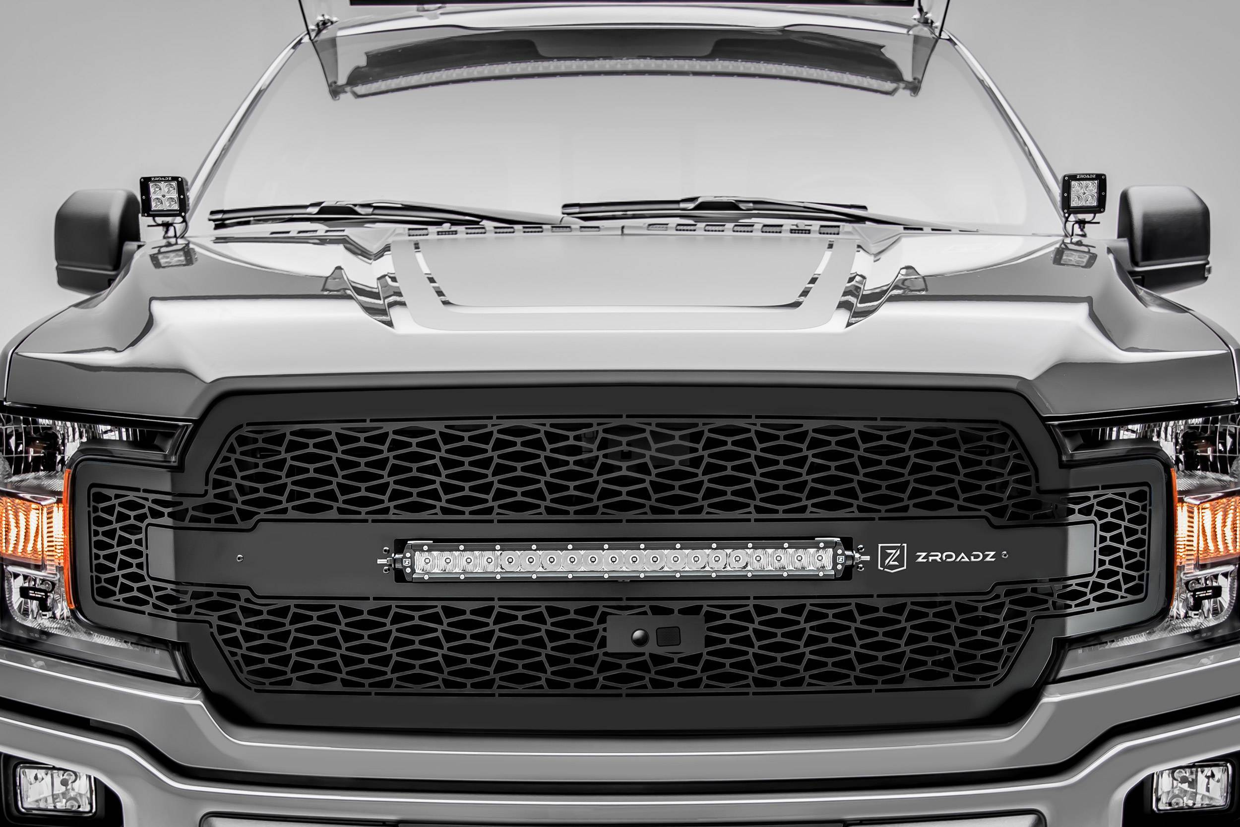 T-REX GRILLES - 2018-2020 F-150 ZROADZ Grille, Black, 1 Pc, Replacement with 20 Inch LED, Fits Vehicles with Camera - PN #Z315811
