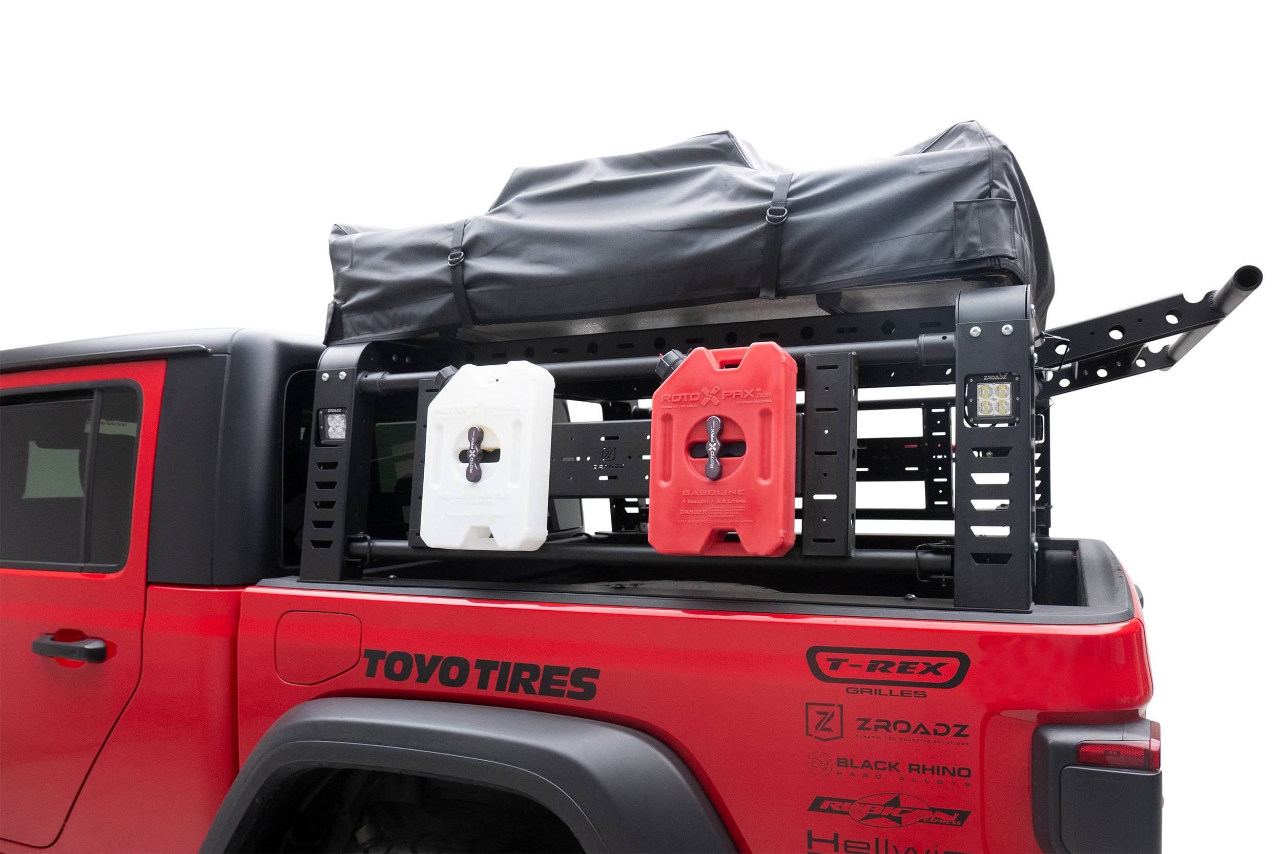 ZROADZ                                             - 2019-2021 Jeep Gladiator Access Overland Rack With Three Lifting Side Gates, For use on Factory Trail Rail Cargo Systems - PN #Z834211
