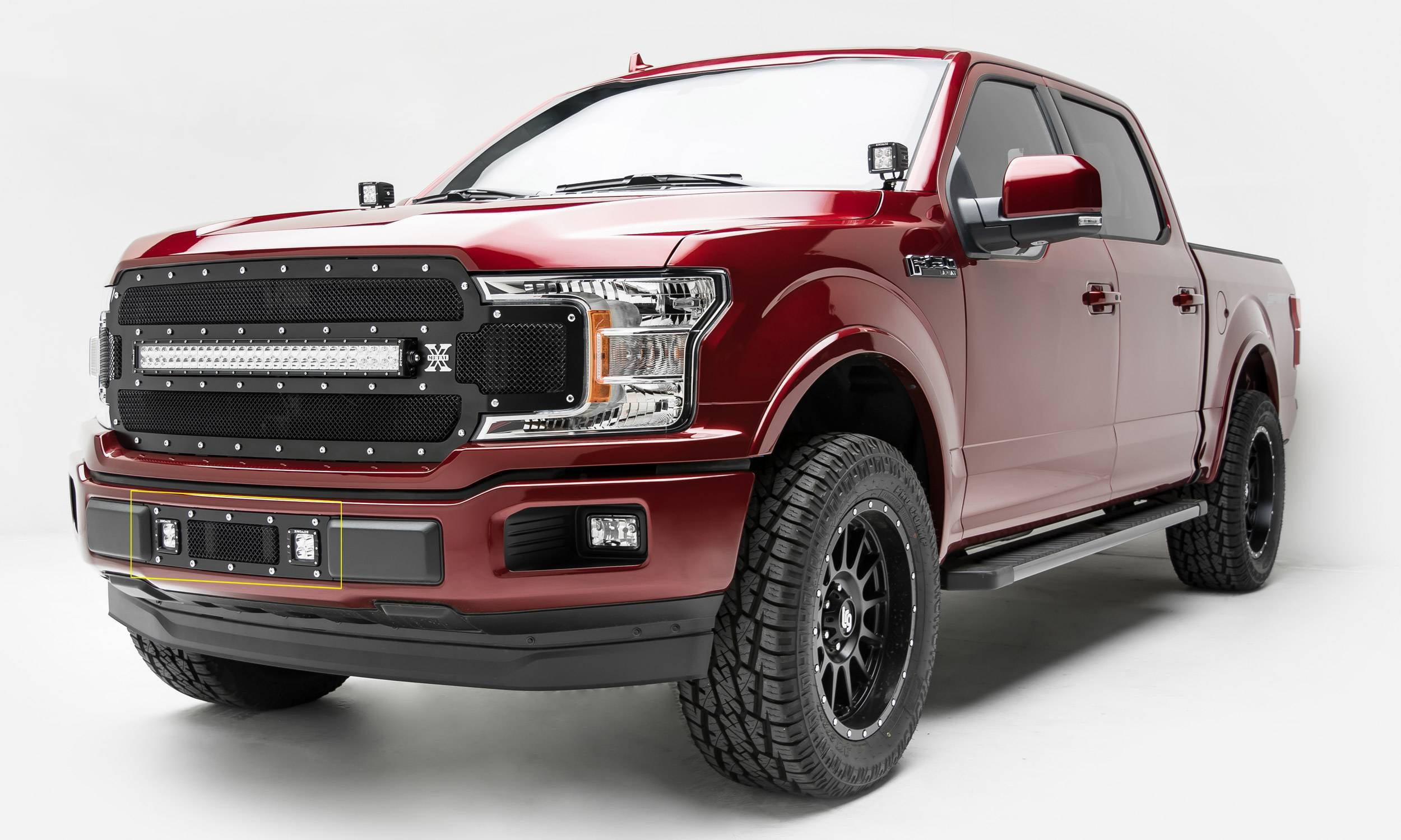 T-REX GRILLES - 2018-2020 F-150 Limited, Lariat Torch Bumper Grille, Black, 1 Pc, Replacement, Chrome Studs with (2) 3 Inch LED Cube Lights - PN #6325791
