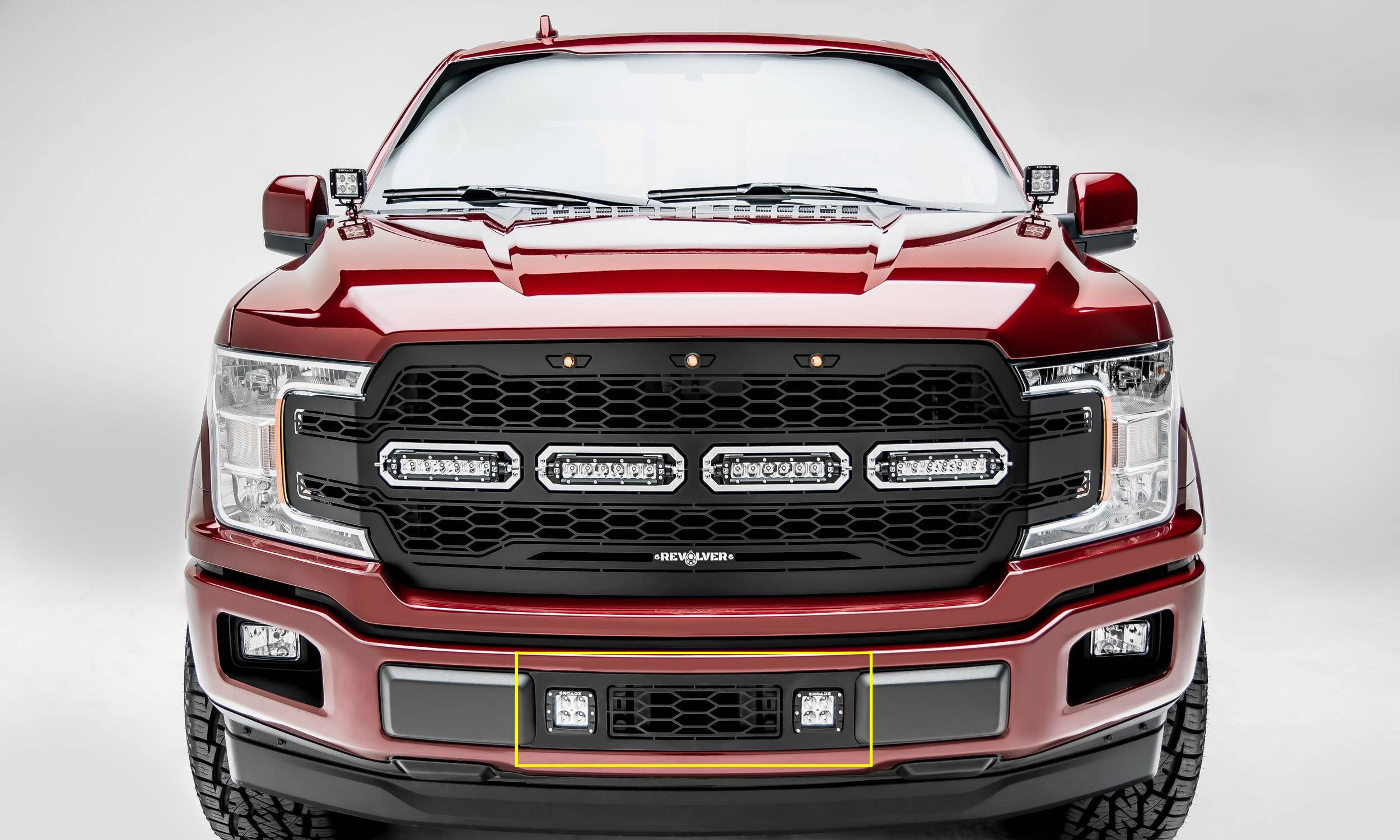 T-REX GRILLES - 2018-2020 F-150 Limited, Lariat Revolver Bumper Grille, Black, 1 Pc, Overlay with (2) 3 Inch LED Cube Lights - PN #6525751
