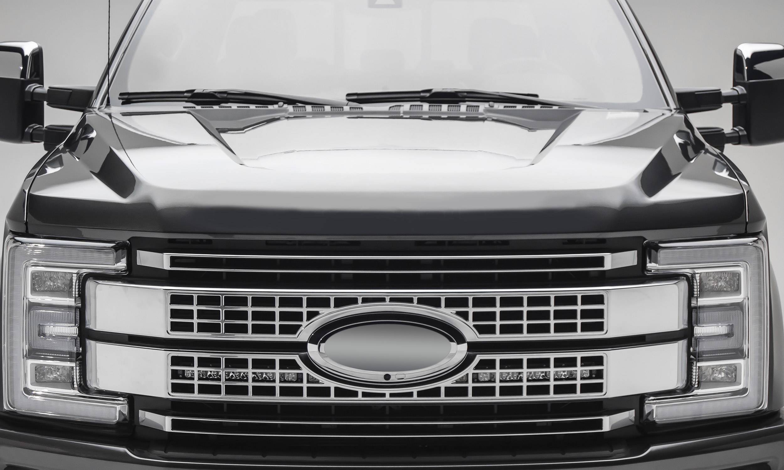ZROADZ                                             - 2017-2019 Ford Super Duty Platinum OEM Grille LED Kit with (2) 10 Inch LED Single Row Slim Light Bars - PN #Z415671-KIT