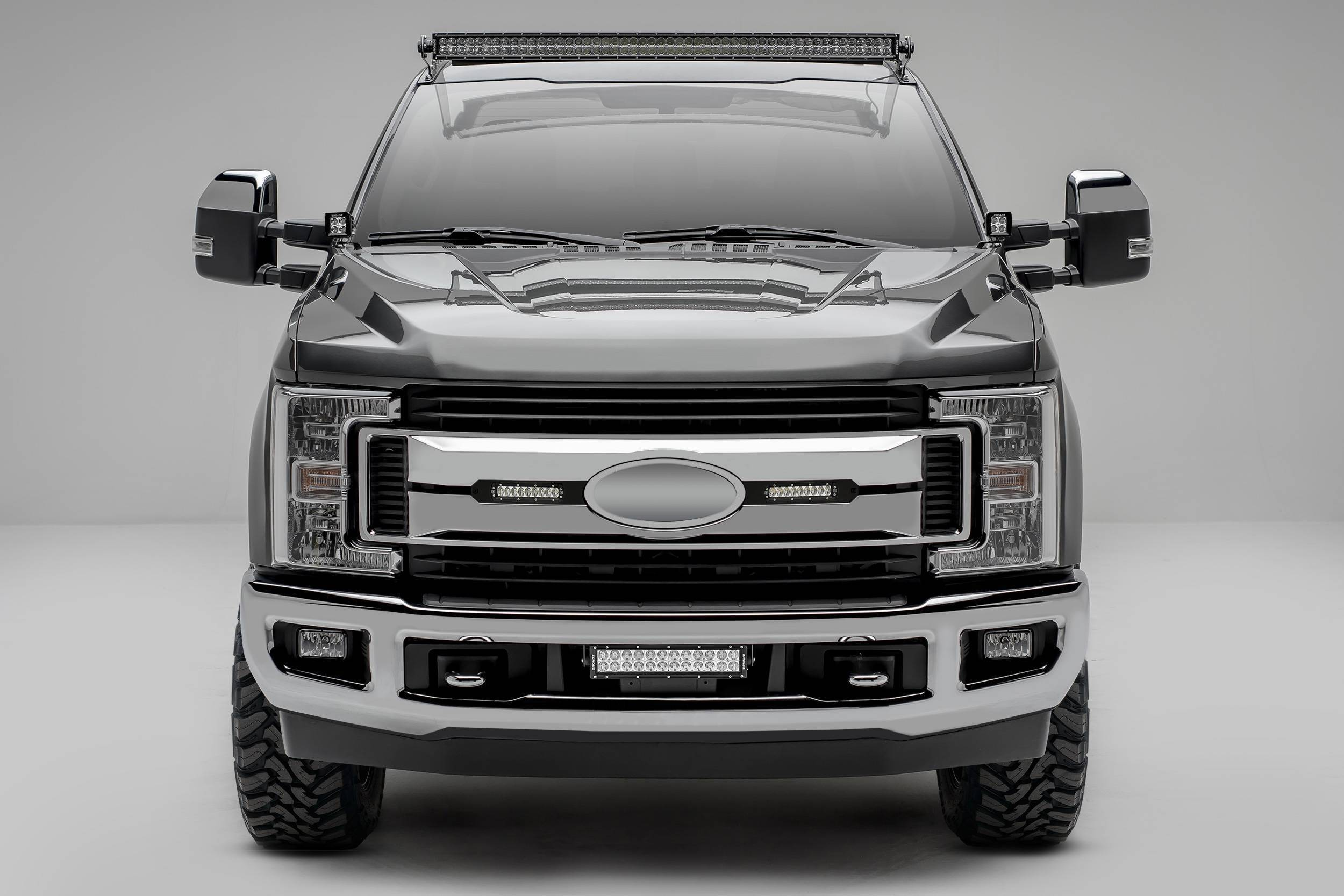 ZROADZ                                             - 2017-2019 Ford Super Duty XLT, XL STX OEM Grille LED Kit with (2) 6 Inch LED Straight Single Row Slim Light Bars, Black - PN #Z415571-KIT
