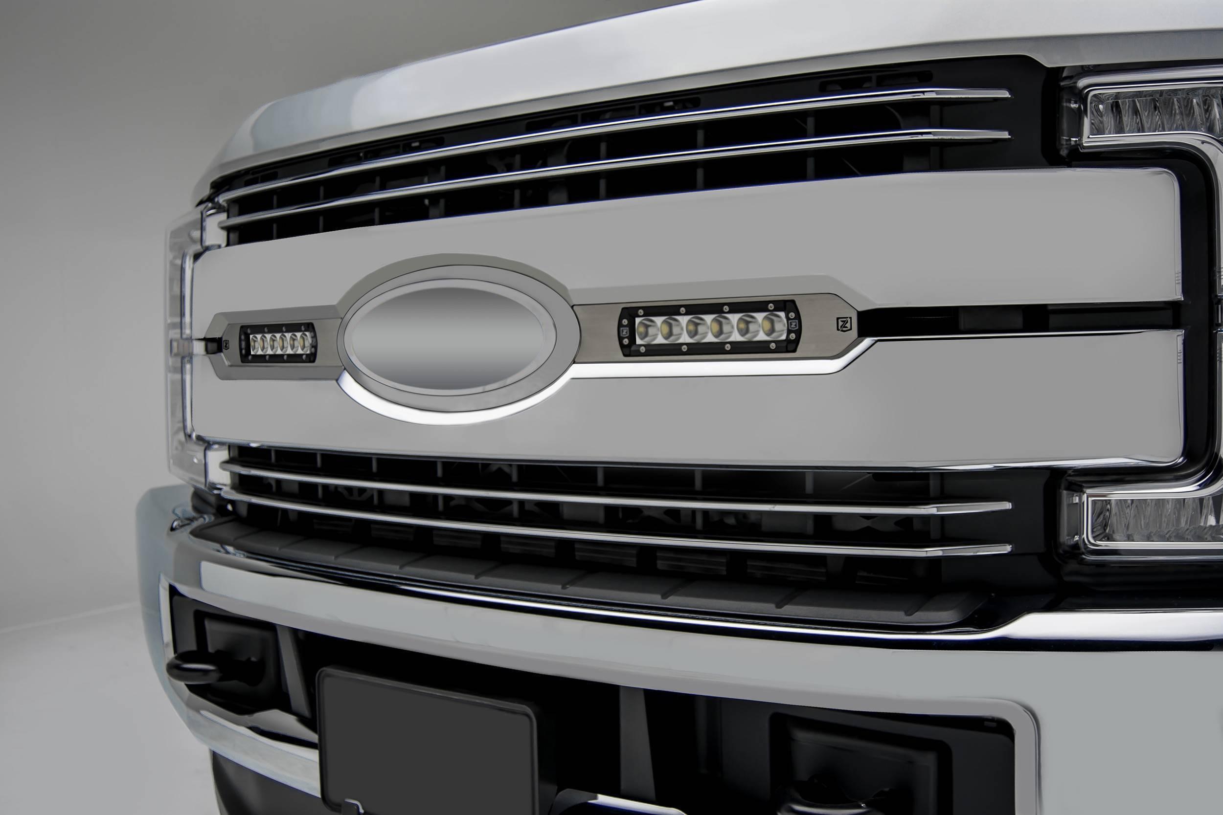 ZROADZ                                             - 2017-2019 Ford Super Duty Lariat, King Ranch OEM Grille LED Kit with (2) 6 Inch LED Straight Single Row Slim Light Bars - PN #Z415473-KIT