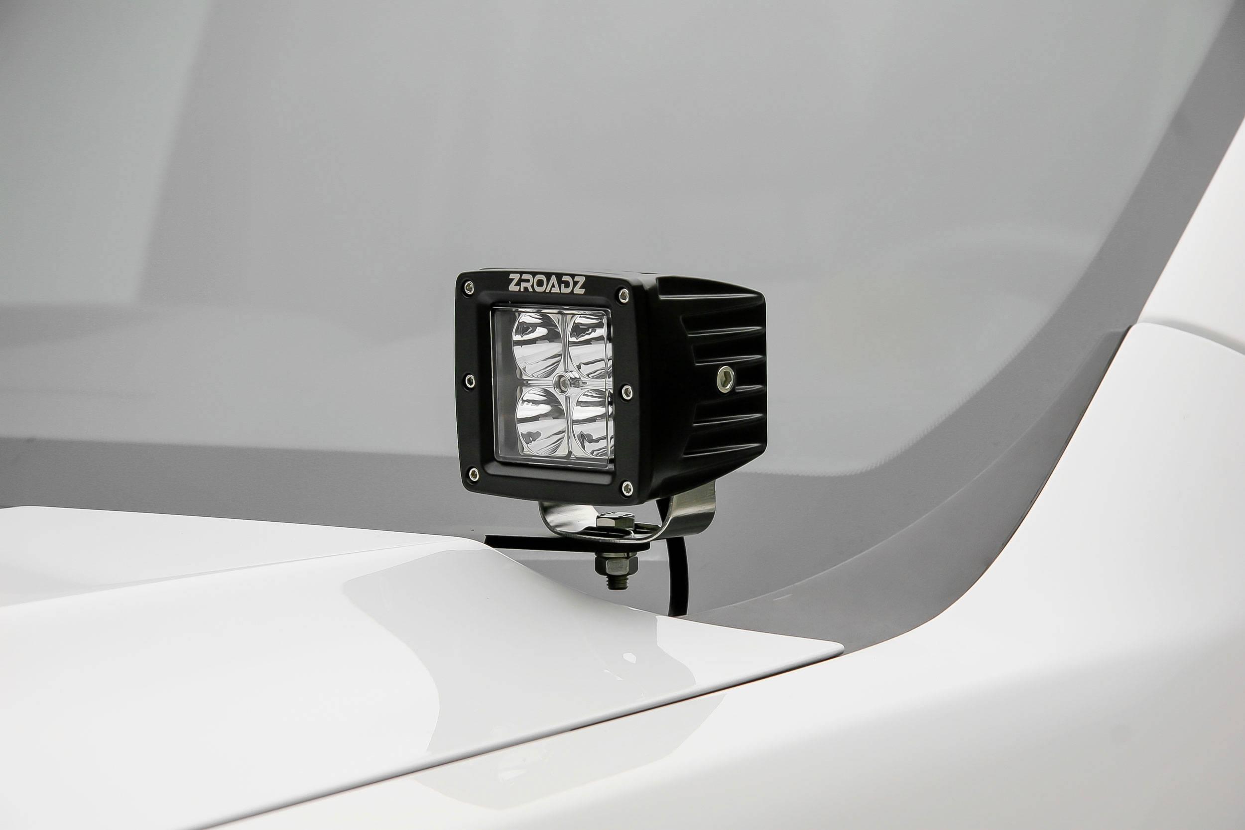 ZROADZ OFF ROAD PRODUCTS - 2007-2013 Silverado Sierra 1500 Hood Hinge LED Bracket to mount (2) 3 Inch LED Pod Lights - PN #Z362051