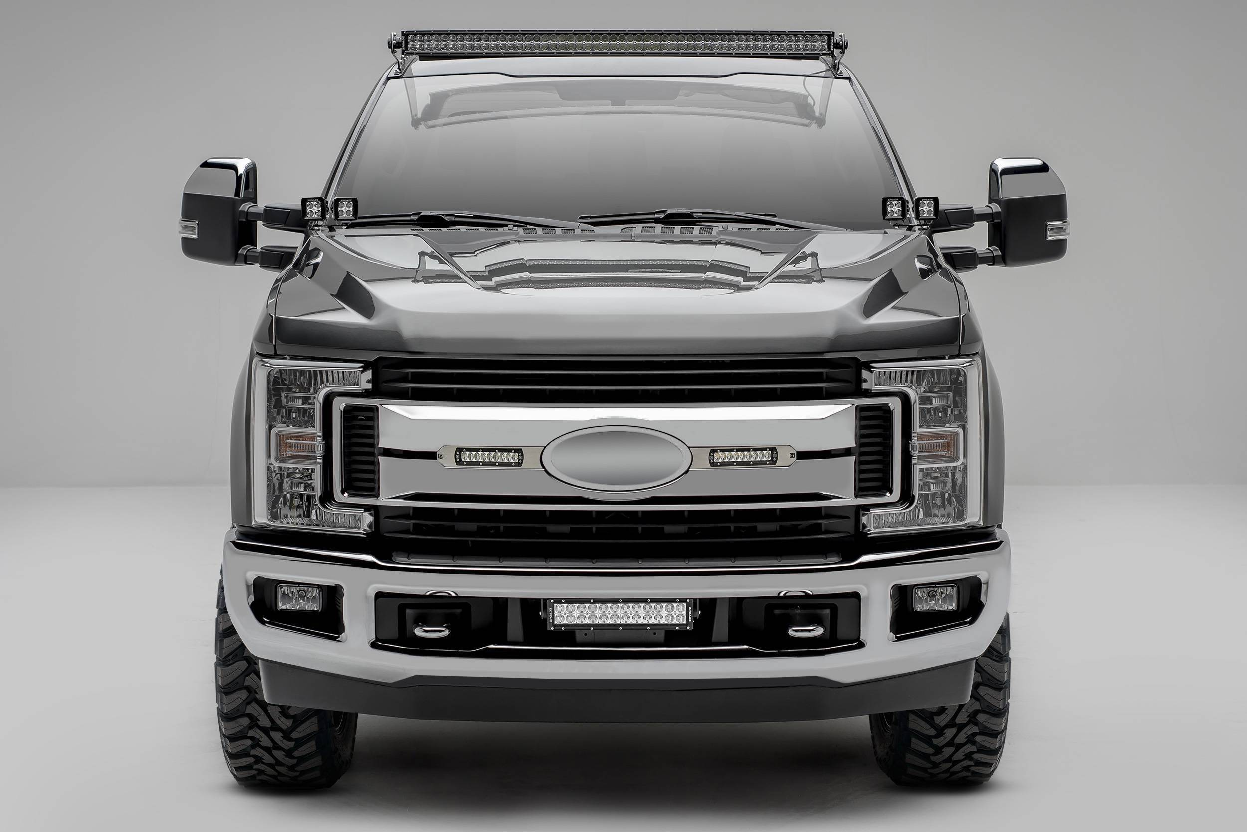 ZROADZ OFF ROAD PRODUCTS - 2017-2019 Ford Super Duty XLT, XL STX OEM Grille LED Kit with (2) 6 Inch LED Straight Single Row Slim Light Bars, Brushed - PN #Z415573-KIT