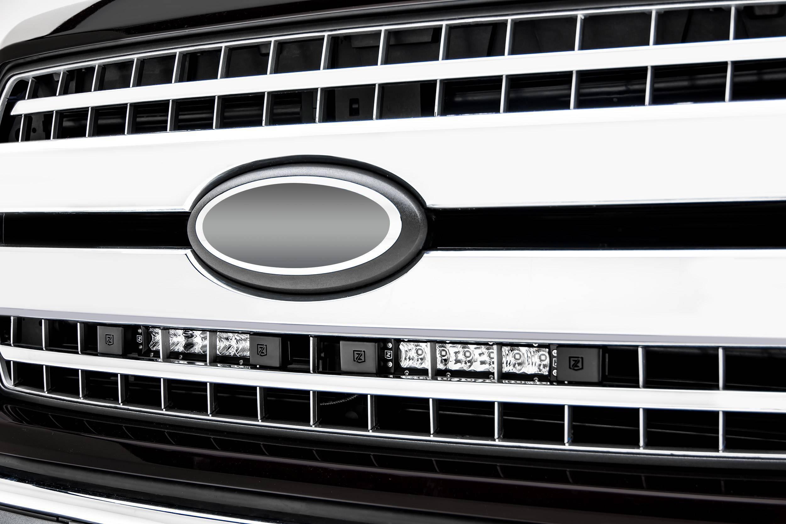 ZROADZ                                             - 2018-2020 Ford F-150 XLT, Lariat OEM Grille LED Kit with (2) 6 Inch LED Straight Single Row Slim Light Bars - PN #Z415711-KIT