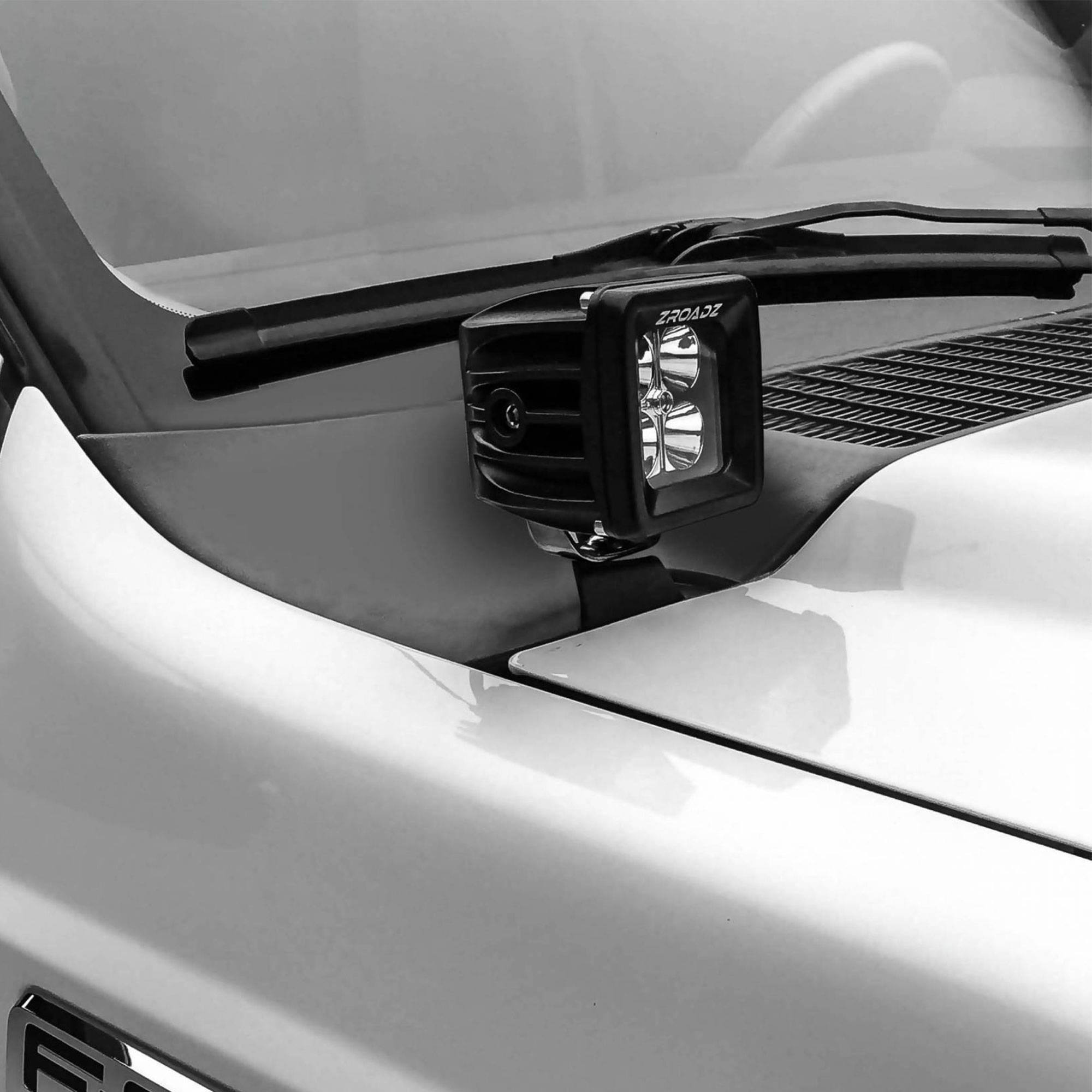ZROADZ                                             - 2011-2016 Ford Super Duty Hood Hinge LED Bracket to mount (2) 3 Inch LED Pod Lights - PN #Z365461