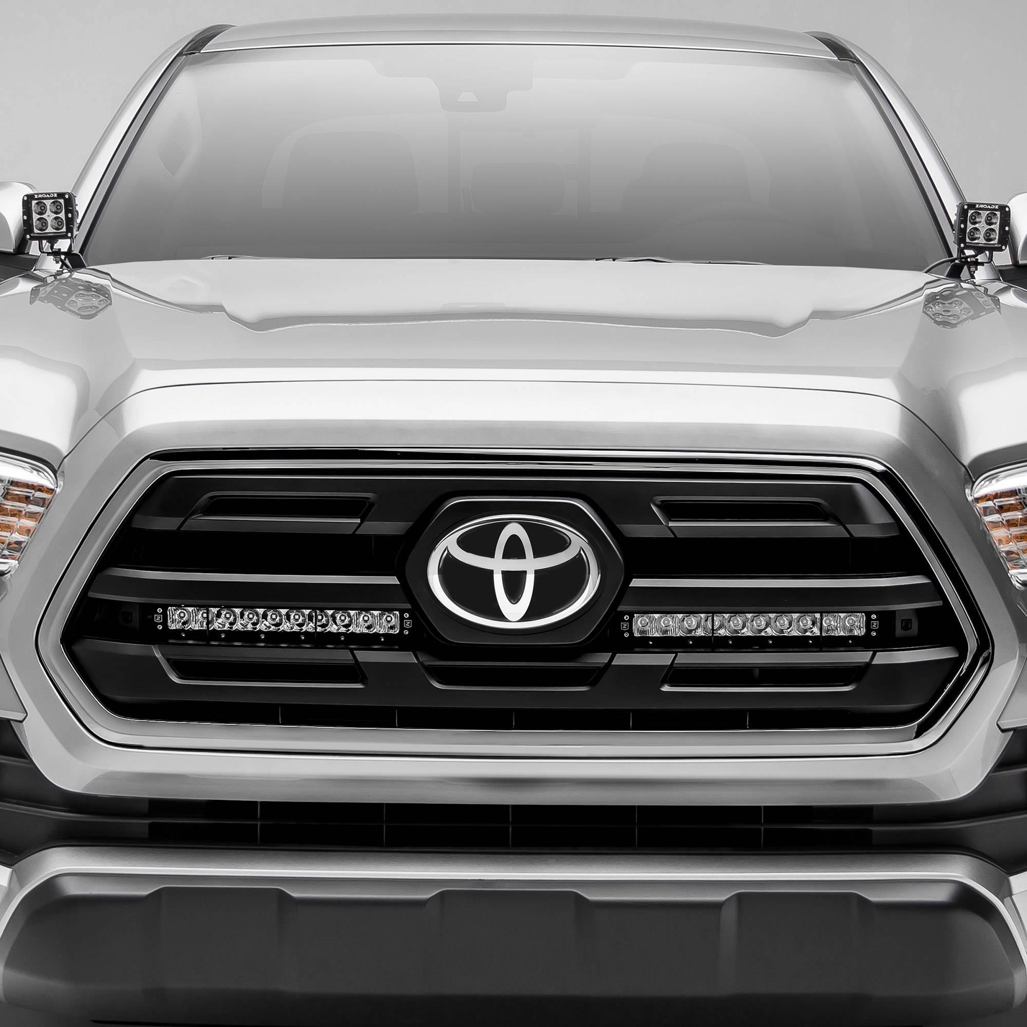 ZROADZ                                             - 2018-2019 Toyota Tacoma OEM Grille LED Kit with (2) 10 Inch LED Single Row Slim Light Bars - PN #Z419611-KIT