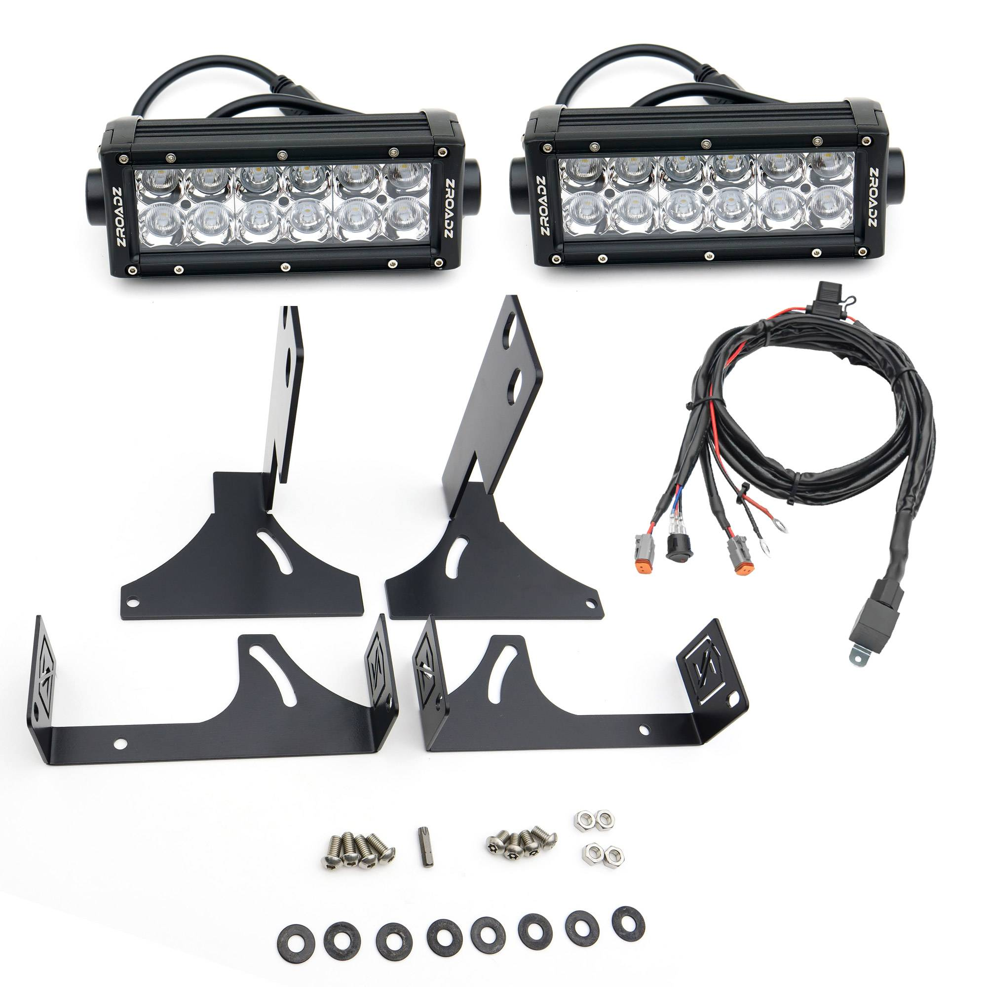 ZROADZ OFF ROAD PRODUCTS - 2008-2016 Ford Super Duty Rear Bumper LED Kit with (2) 6 Inch LED Straight Double Row Light Bars - PN #Z385461-KIT