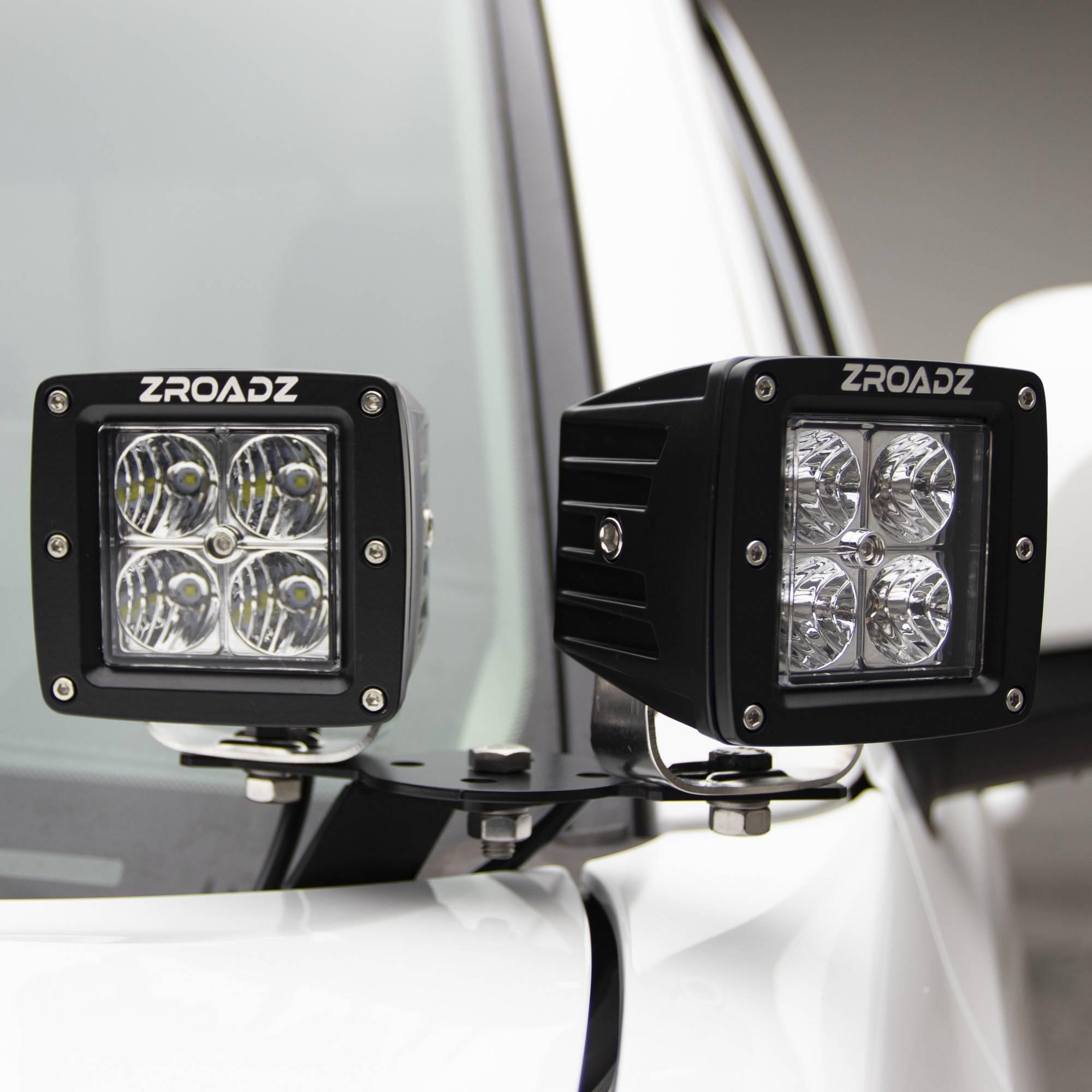 ZROADZ OFF ROAD PRODUCTS - Hood Hinge Adapter Plate to mount (4) 3 Inch LED Pod Lights to Hood Hinge Bracket - PN #Z360002