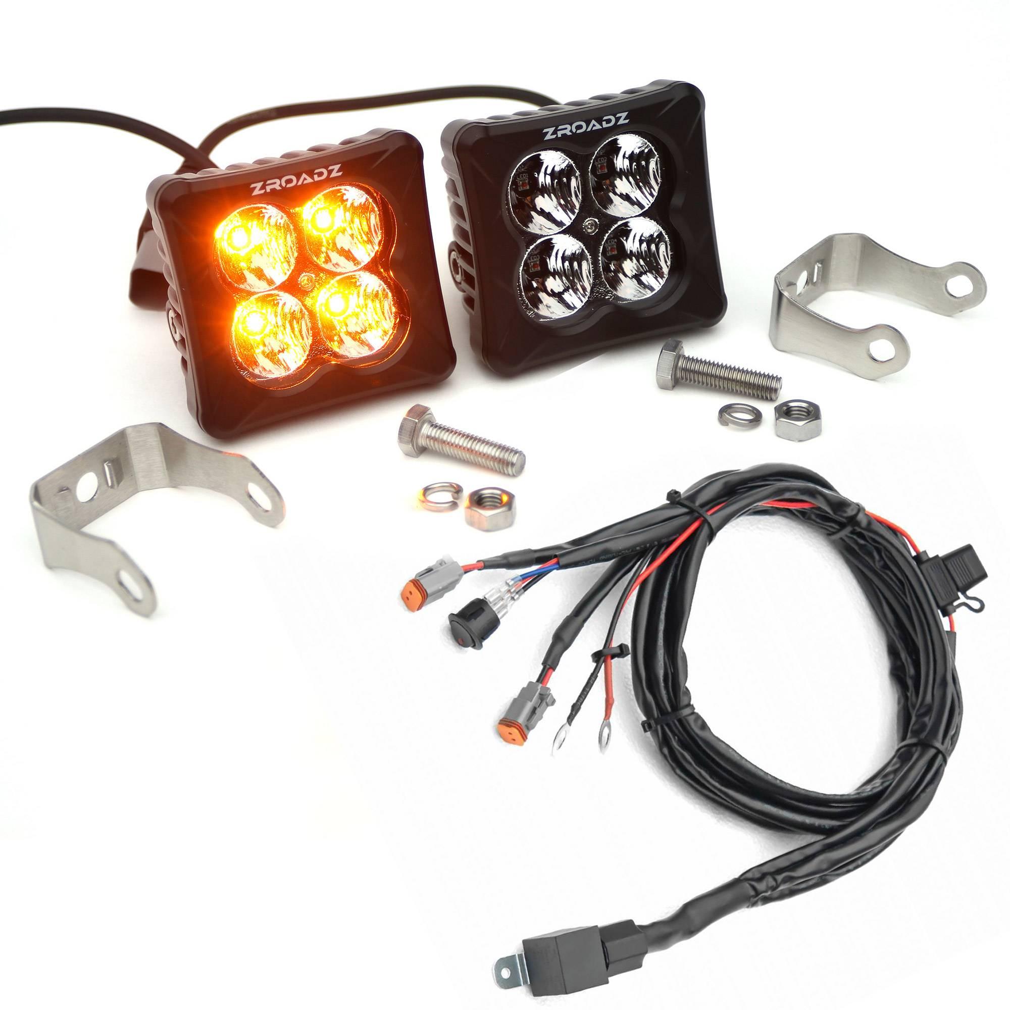 ZROADZ OFF ROAD PRODUCTS - 3 inch ZROADZ LED Light Pod Kit, G2 Series, Amber, Flood Beam, 2 Piece Kit With Wiring Harness - PN #Z30BC12W-D3A-K
