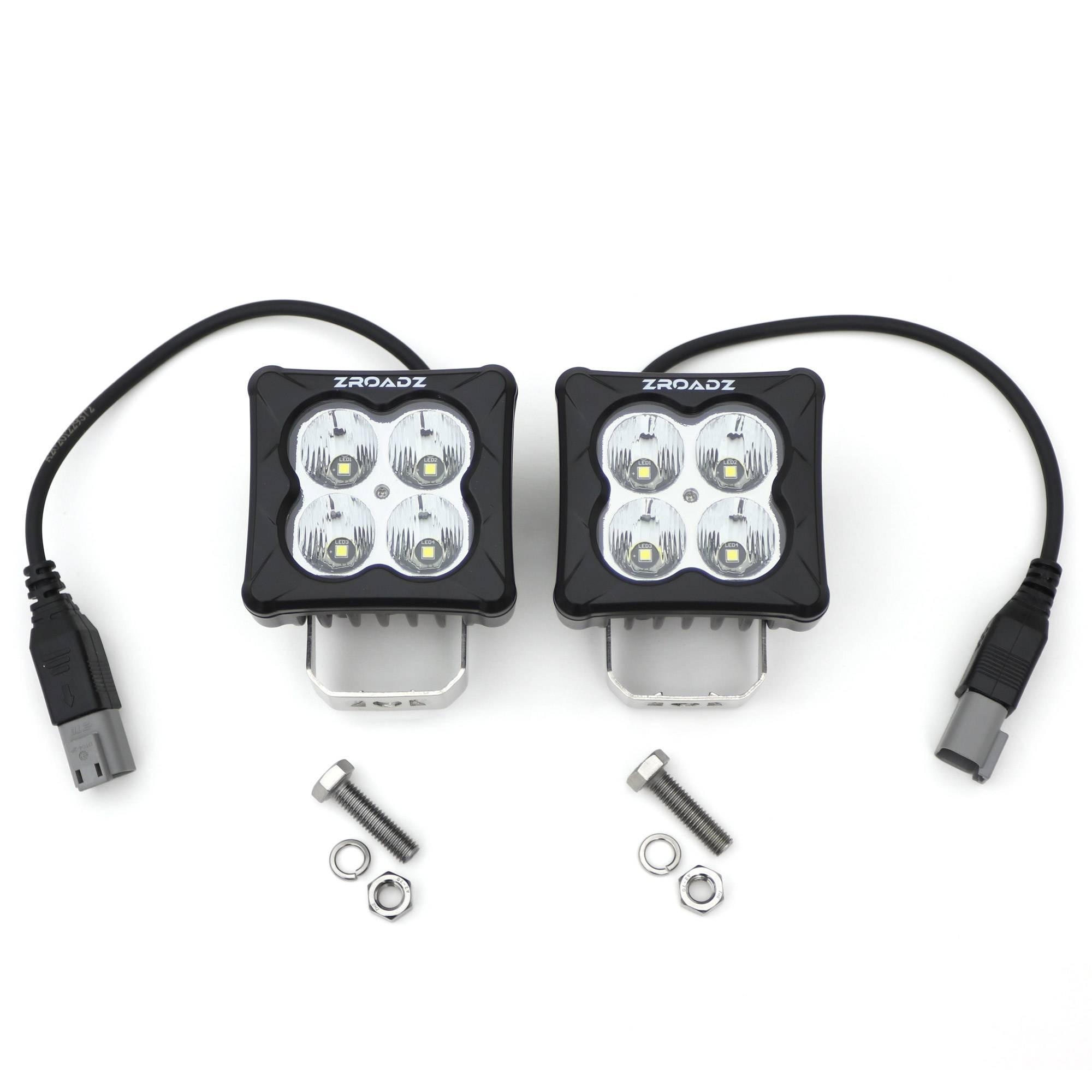 ZROADZ OFF ROAD PRODUCTS - 3 inch ZROADZ LED Light Pod Set, G2 Series, Bright White, Flood Beam, 2 Piece - PN #Z30BC20W-D3F-2