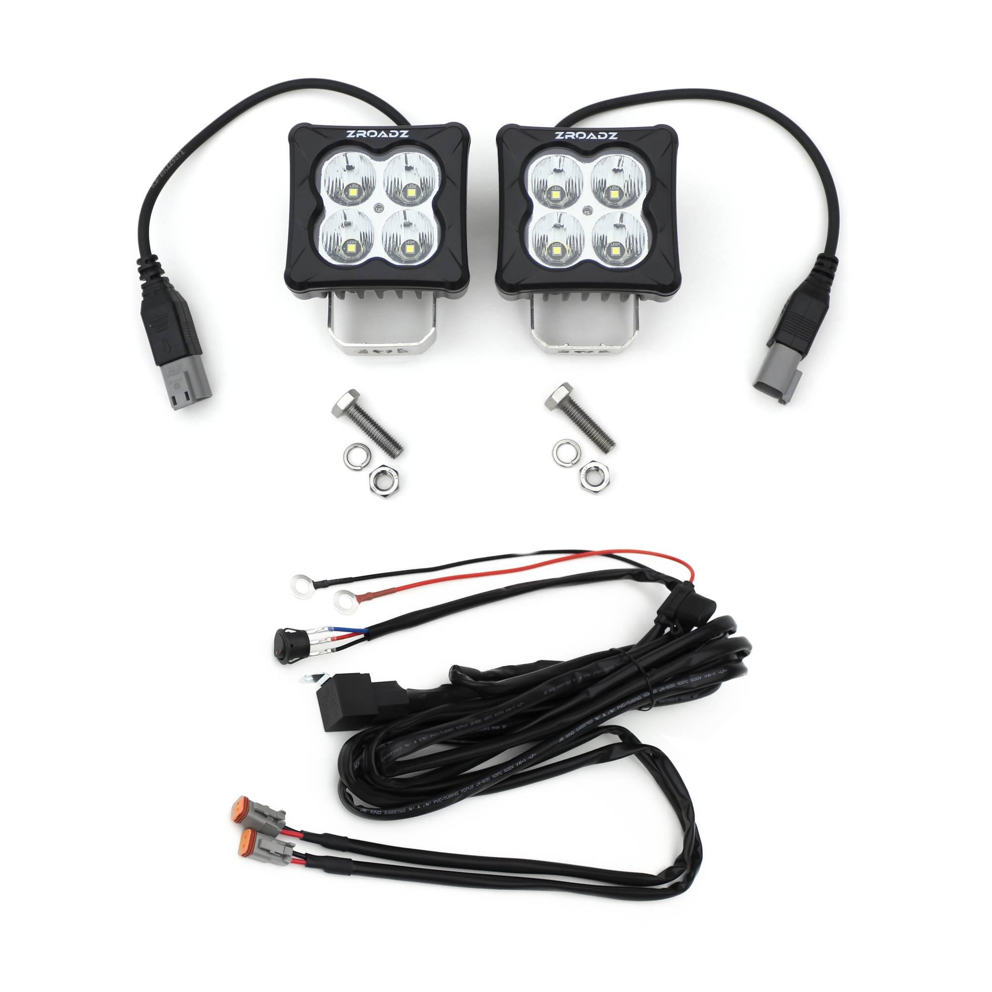 ZROADZ OFF ROAD PRODUCTS - 3 inch ZROADZ LED Light Pod Kit, G2 Series, Bright White, Flood Beam, 2 Piece With Wiring Harness - PN #Z30BC20W-D3F-K