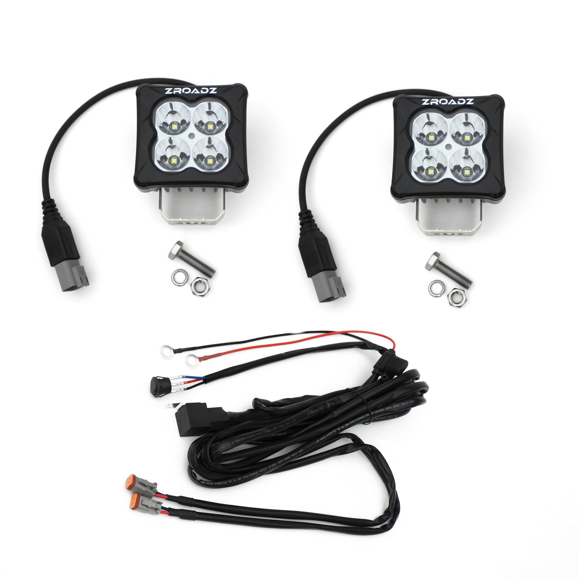 ZROADZ OFF ROAD PRODUCTS - 3 inch ZROADZ LED Light Pod Kit, G2 Series, Bright White, Spot Beam, 2 Piece With Wiring Harness - PN #Z30BC20W-D3S-K