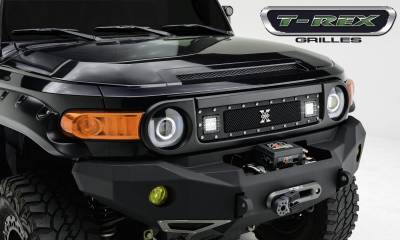 "2007-2014 Toyota FJ Cruiser Torch Grille, Black, 1 Pc, Insert, Chrome Studs, Incl. (2) 3"" LED Cube Lights - PN #6319321 - Image 1"
