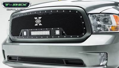 "2013-2018 Ram 1500 Torch Grille, Black, 1 Pc, Insert, Chrome Studs, Incl. (2) 3"" LED Cubes and (1) 12"" LEDs - PN #6314581 - Image 1"