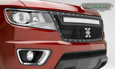 "T-REX GRILLES - 2015-2020 Colorado Torch Grille, Black, 1 Pc, Replacement, Chrome Studs with (1) 30"" LED - PN #6312671 - Image 6"